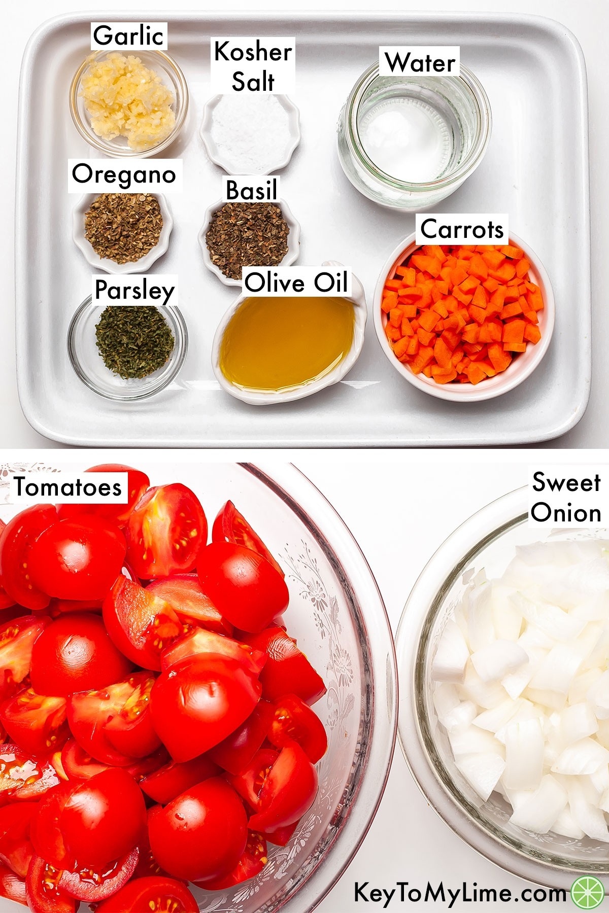 The ingredients for tomato soup from scratch individually labeled.