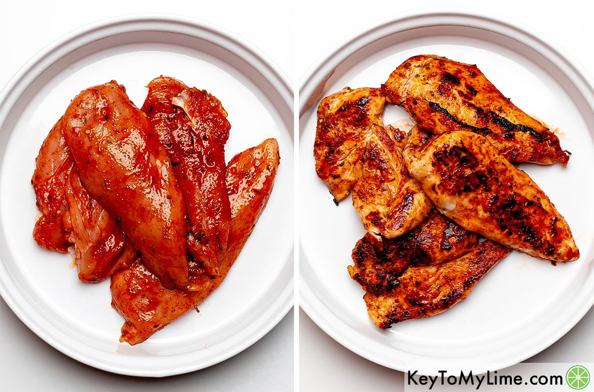 A process collage showing the jerk chicken before and after cooking.