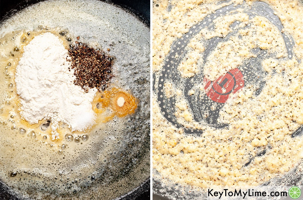 A process collage showing how to make the roux for white country gravy.