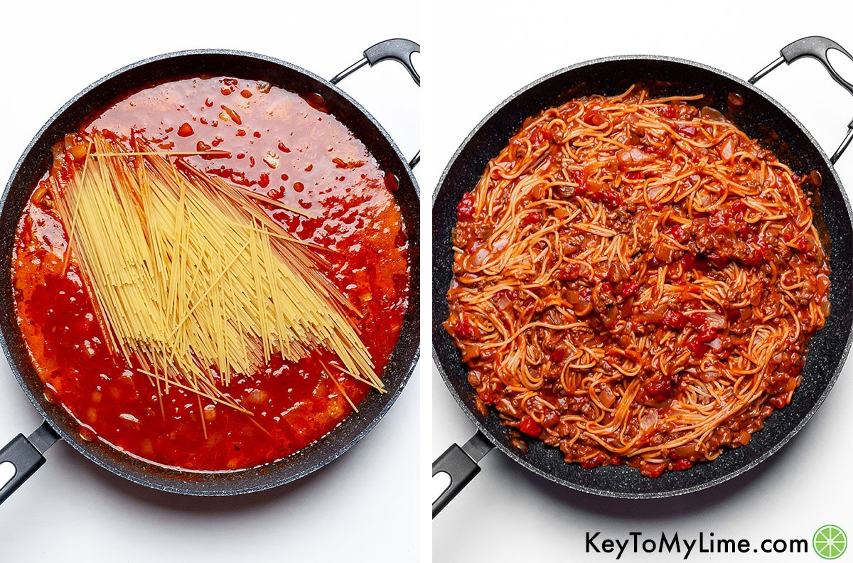 A process collage showing adding the pasta into the taco spaghetti sauce and then after the pasta has cooked.