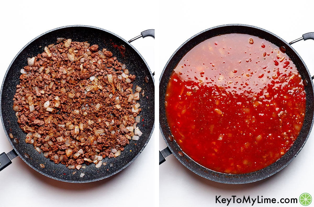 A process collage showing browning the ground beef and then adding the taco spaghetti sauce.