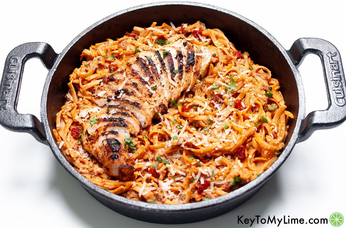 Easy spicy chicken pasta with cream cheese.