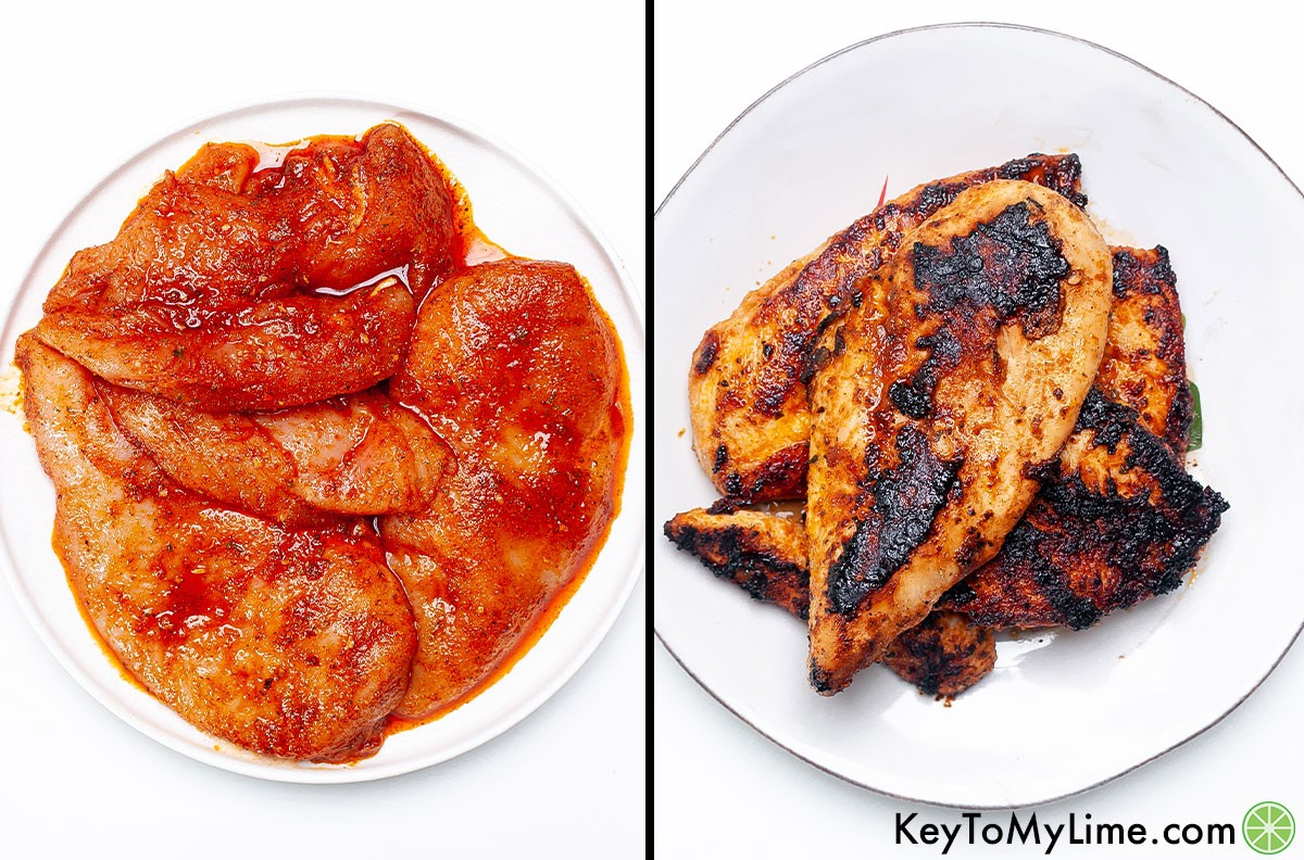 A process collage of chicken breast filets coated in a spice and oil rub, shown before and after cooking.