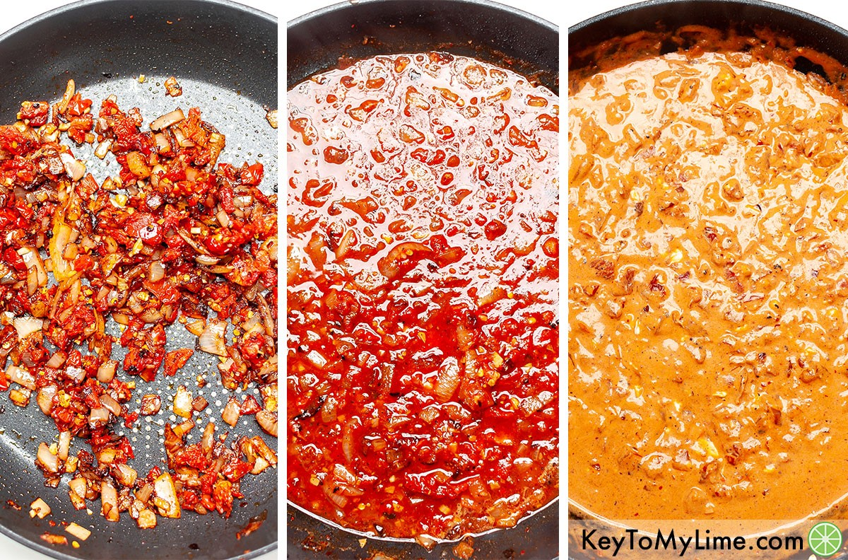 A process collage showing what spicy tomato cream sauce looks like in the three stages of cooking (sautéing the ingredients, adding the tomato sauce, mixing in the cream cheese).