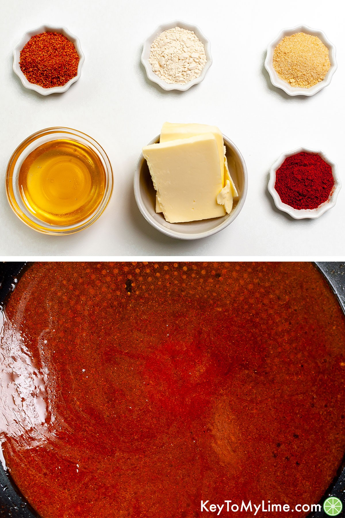 A process collage of the ingredients for sticky glaze and then what it looks like after cooking.