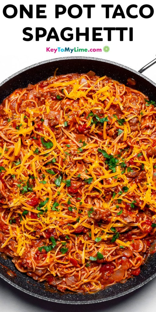 A Pinterest pin image of taco spaghetti with title text.