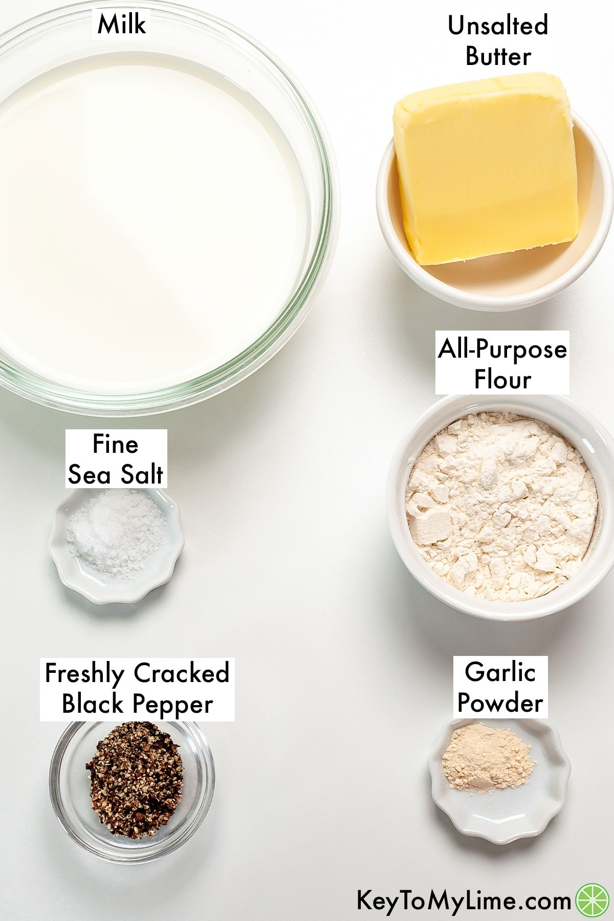 The labeled ingredients to make country gravy.