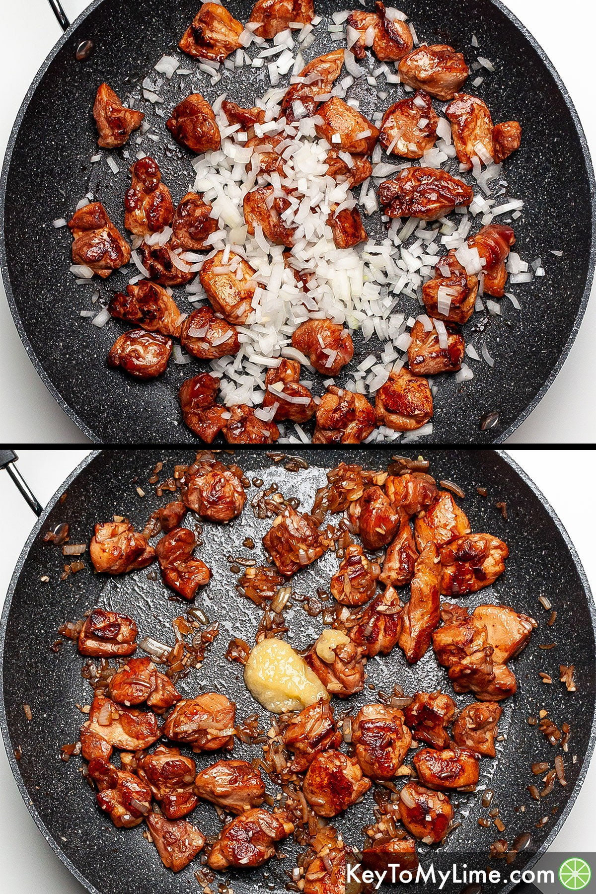 A process collage showing adding chopped onion and ginger paste to cooked chicken pieces.