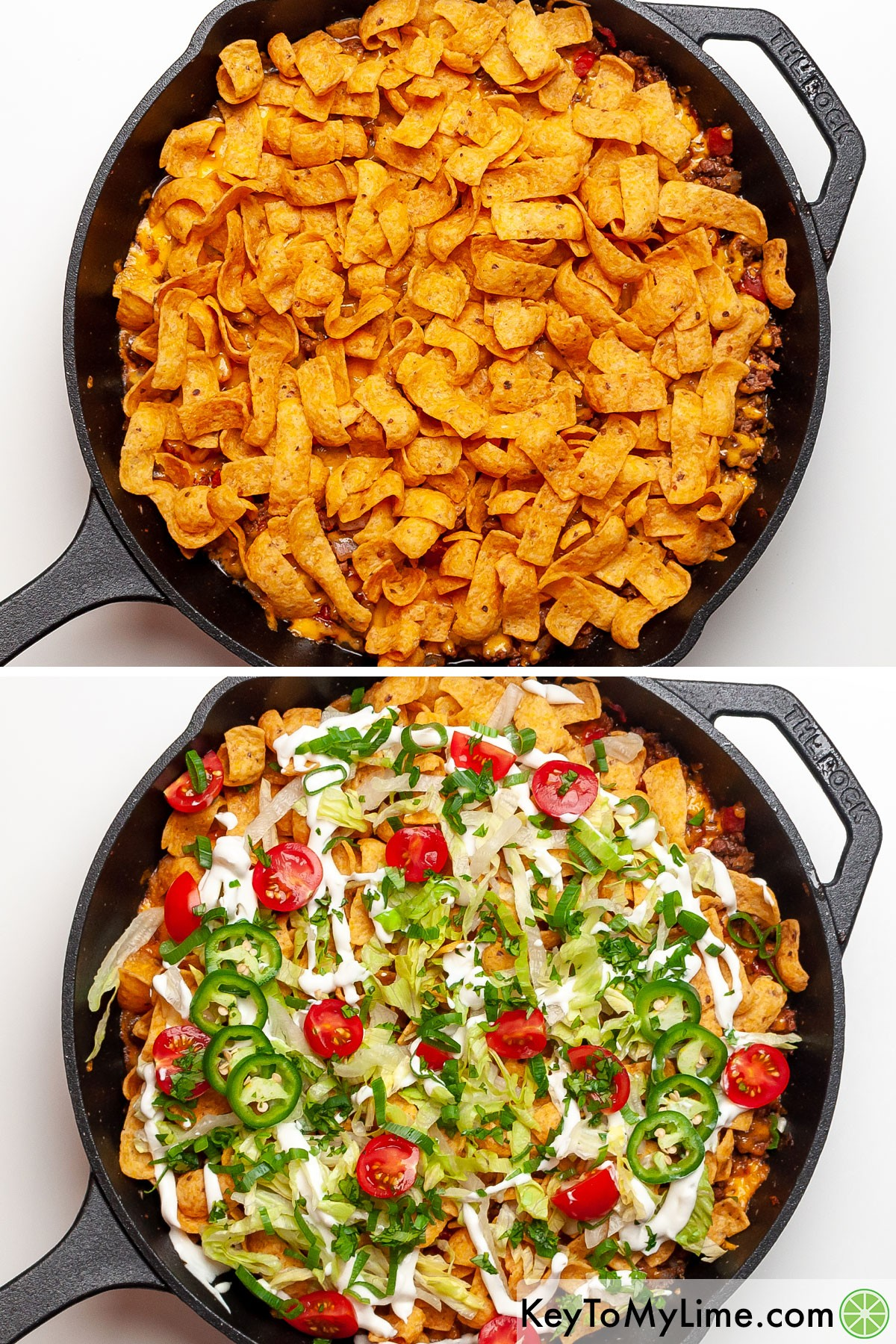 A process collage showing adding corn chips and toppings to walking taco casserole.