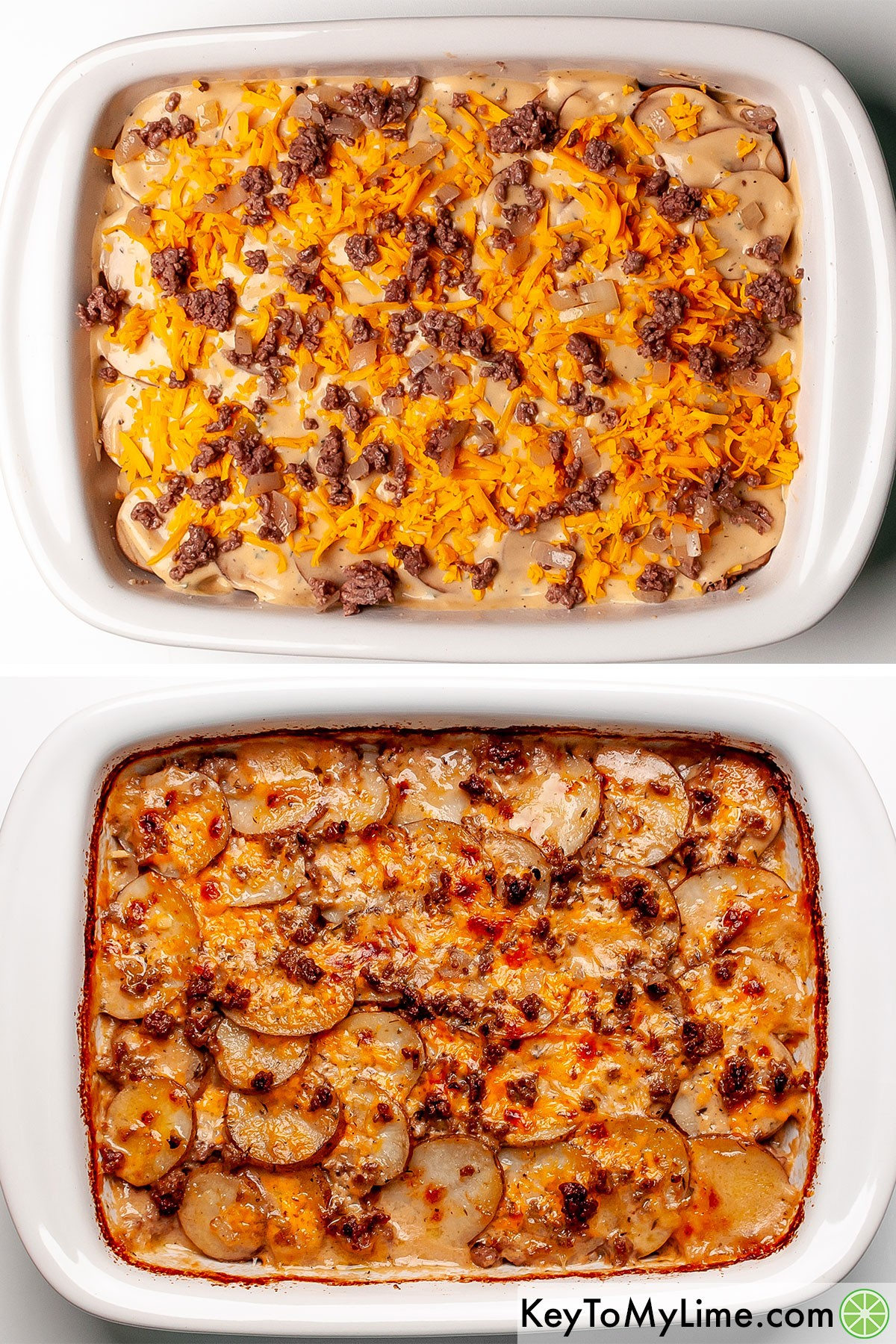 A process collage showing hamburger potato casserole before and after baking.