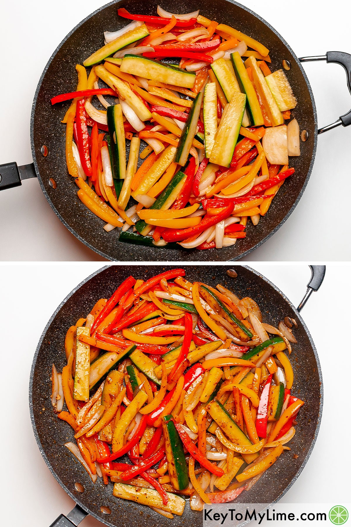 Strips of bell peppers, zucchini, and onions before and after sauteing.