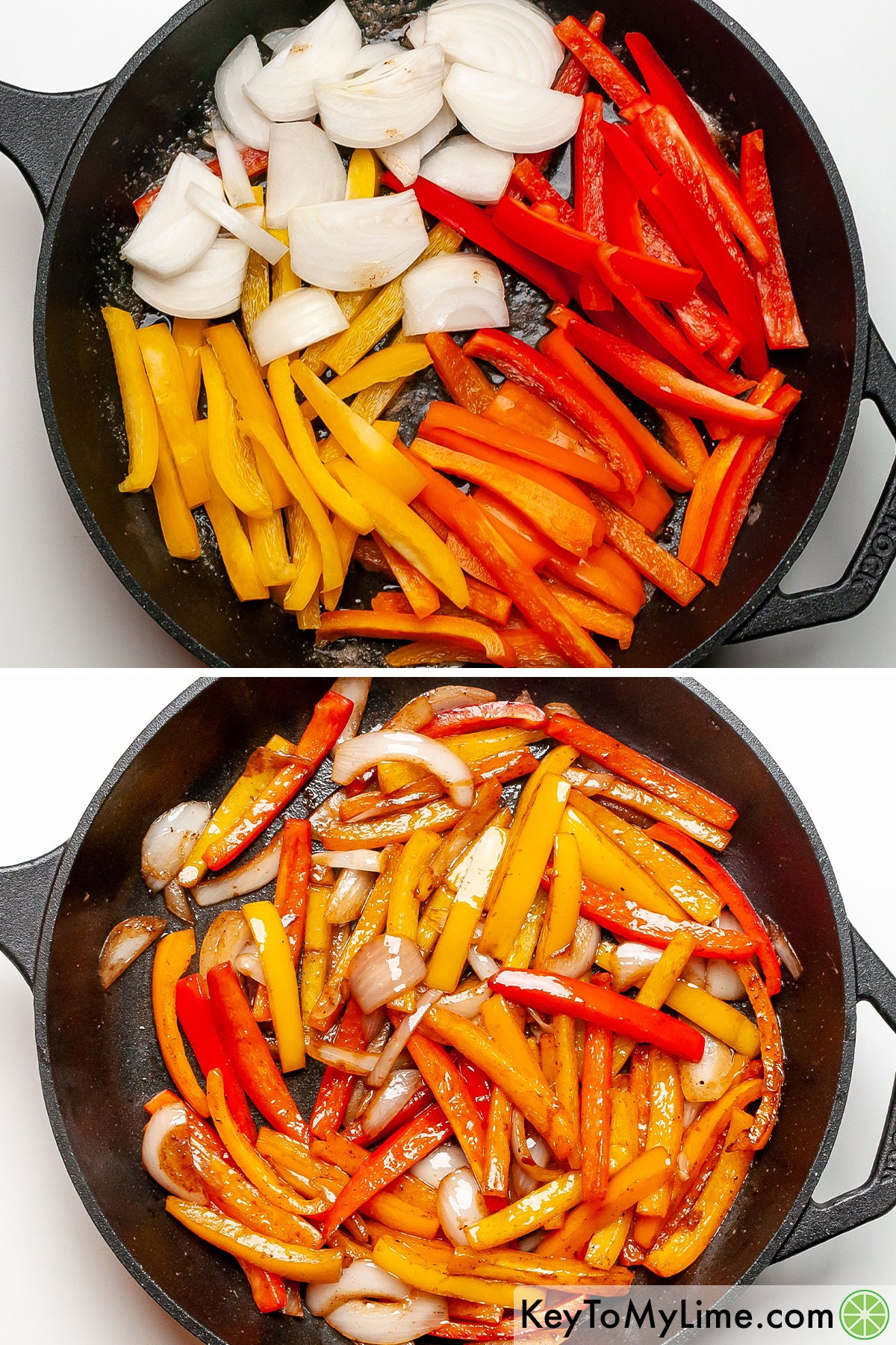 Bell peppers and onion before and after sauteing.