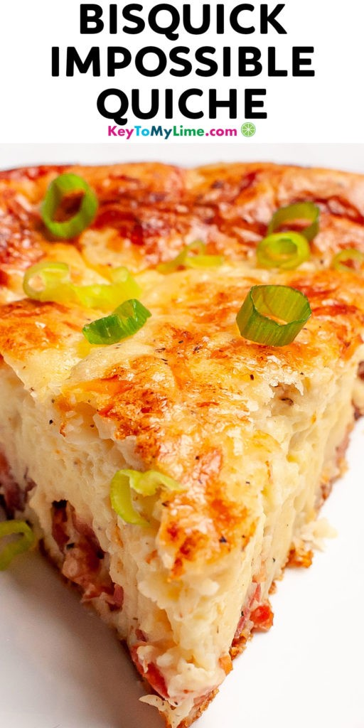 A Pinterest pin image of Bisquick quiche with title text.