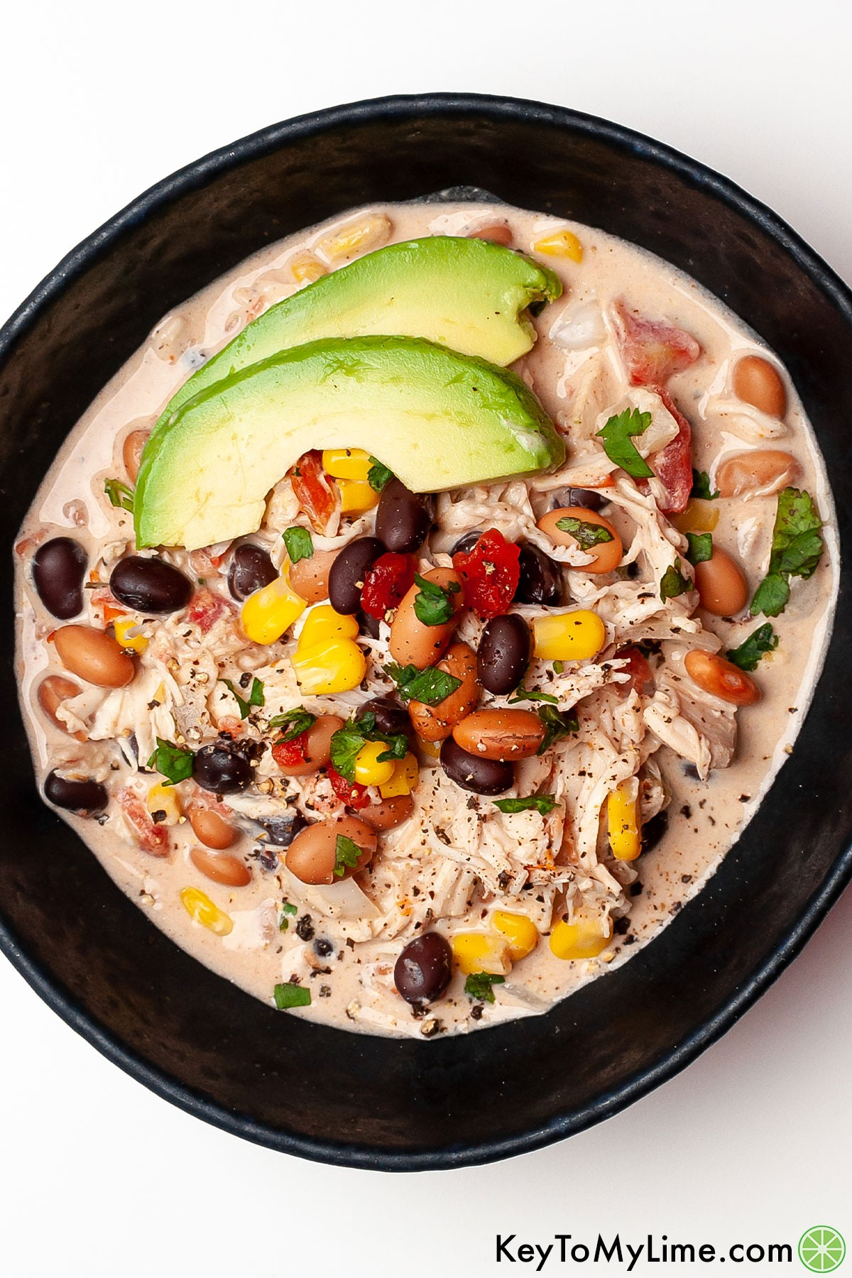 An overhead image of cream cheese chicken chili.