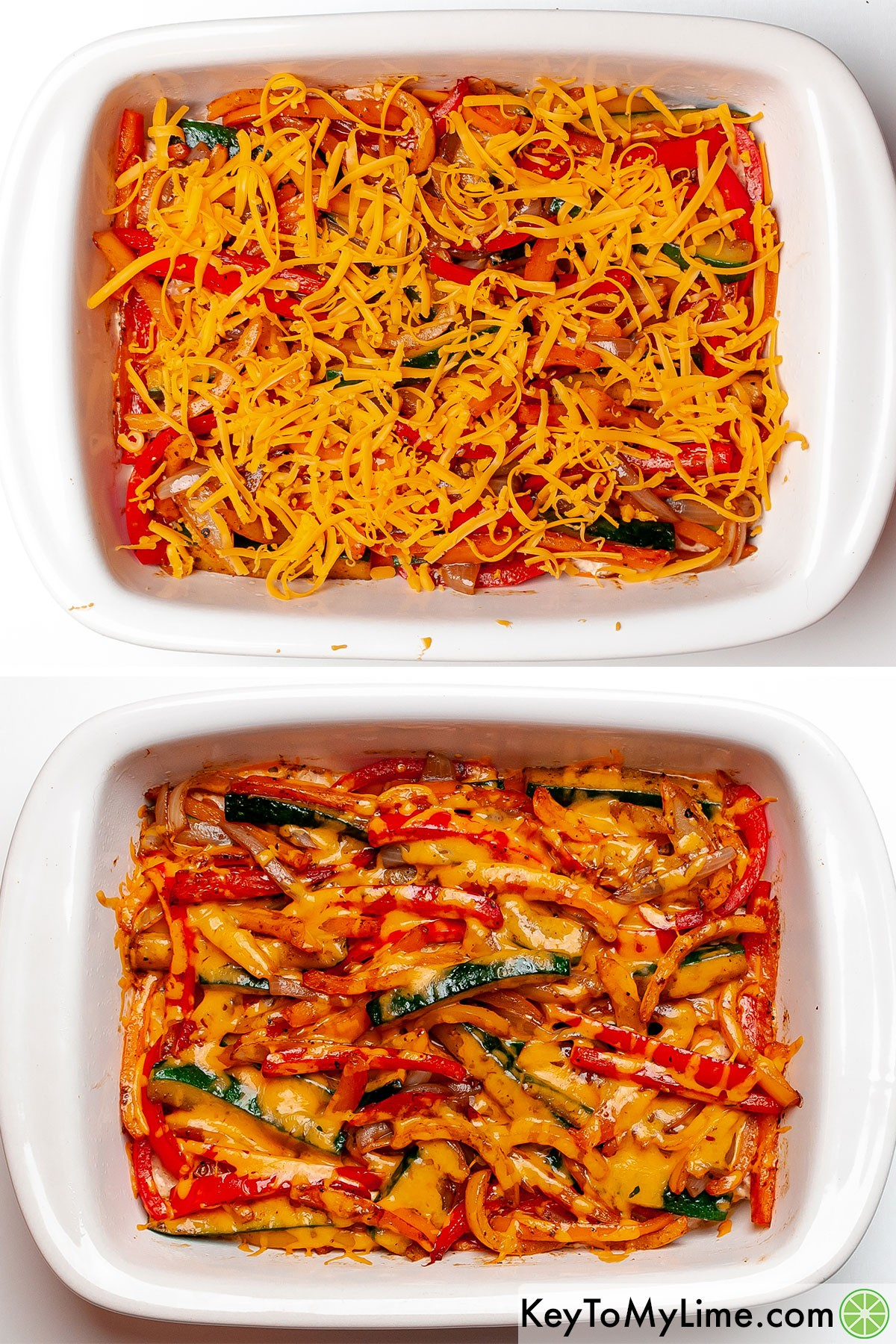 Chicken fajita casserole before and after baking it and melting the cheese on top.