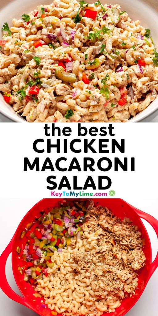 A Pinterest pin image of chicken macaroni salad with title text.