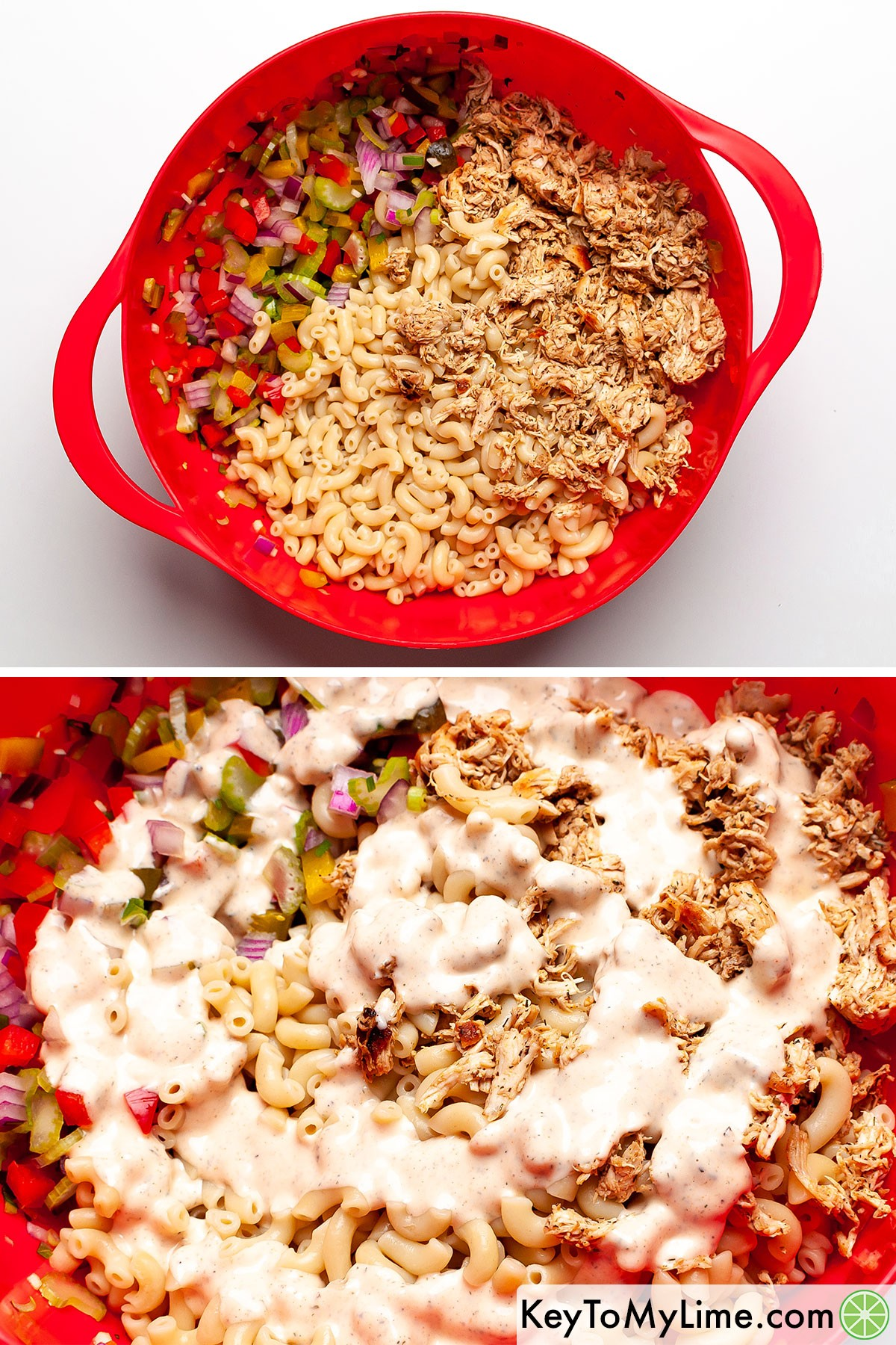 A process collage of adding chicken macaroni salad ingredients and dressing to a bowl.