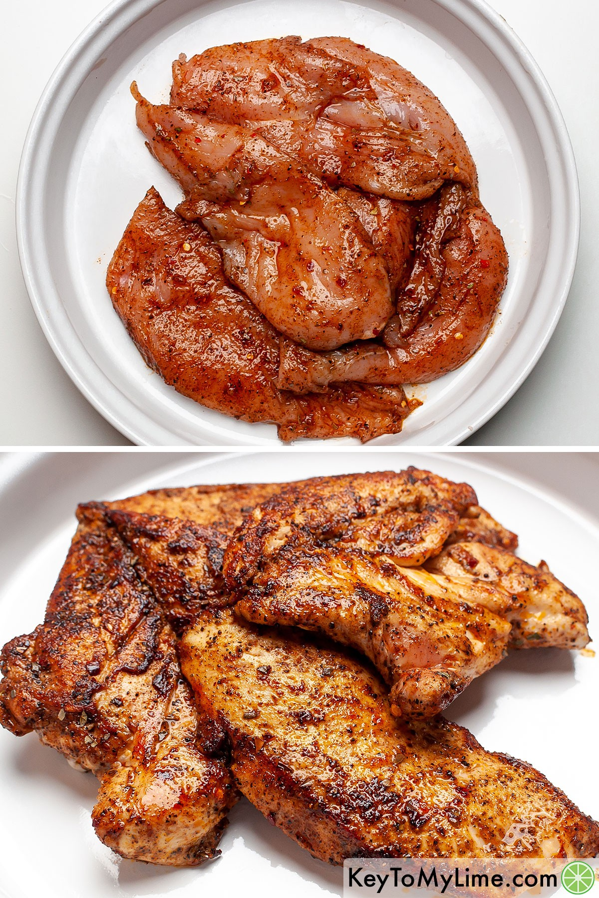 Chicken breast in taco seasoning before and after cooking.