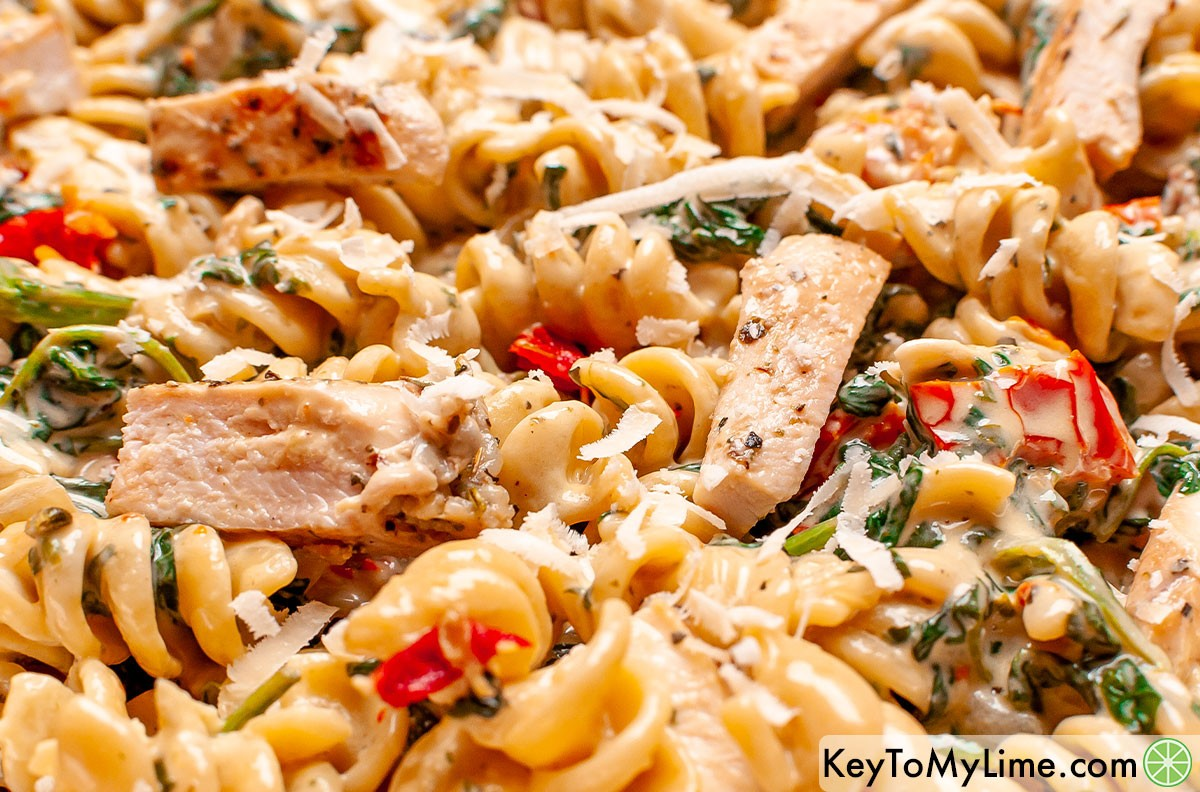 A close up image of Tuscan chicken pasta.