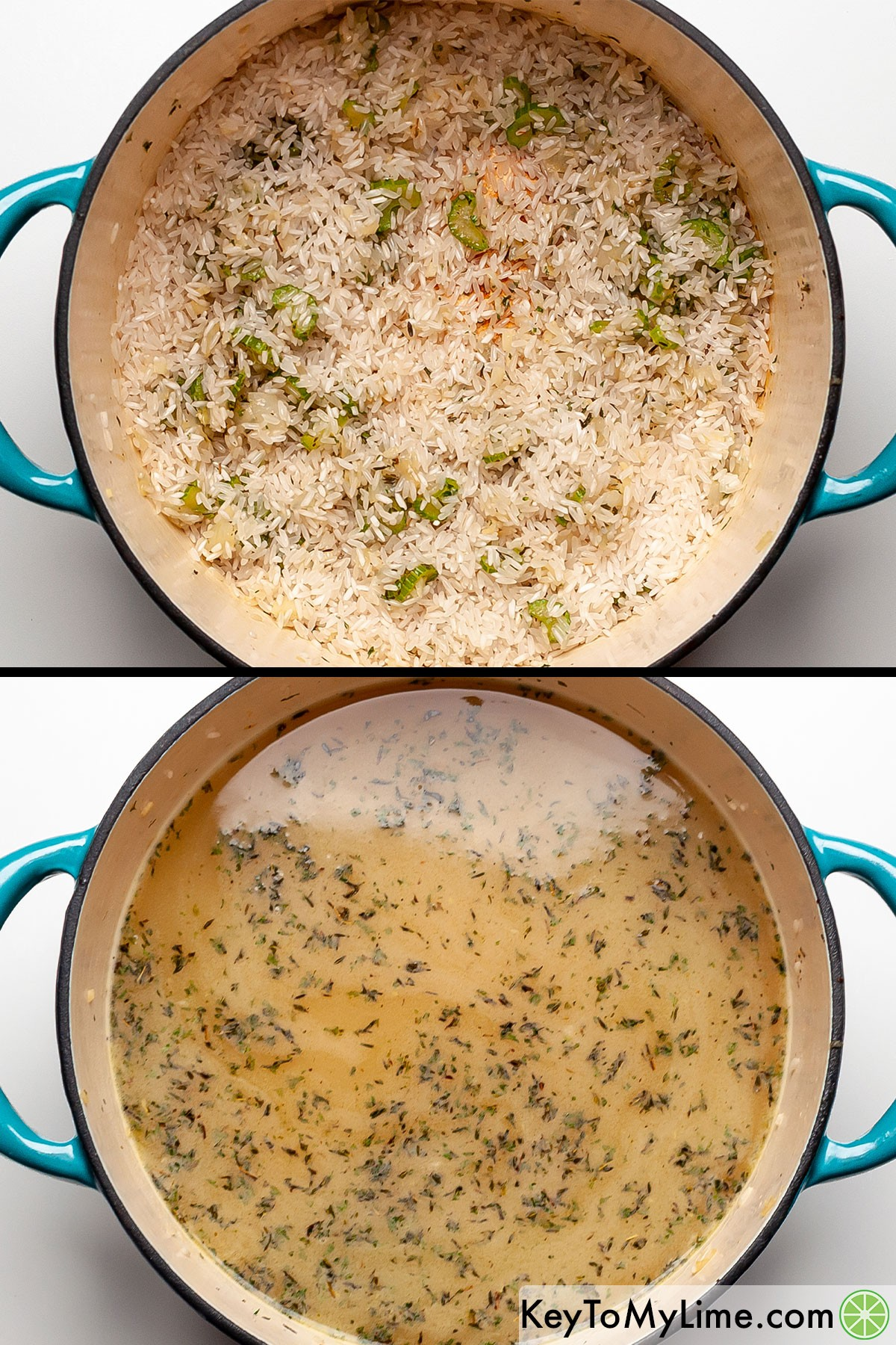 Toasted rice before and after adding chicken broth to it to cook.