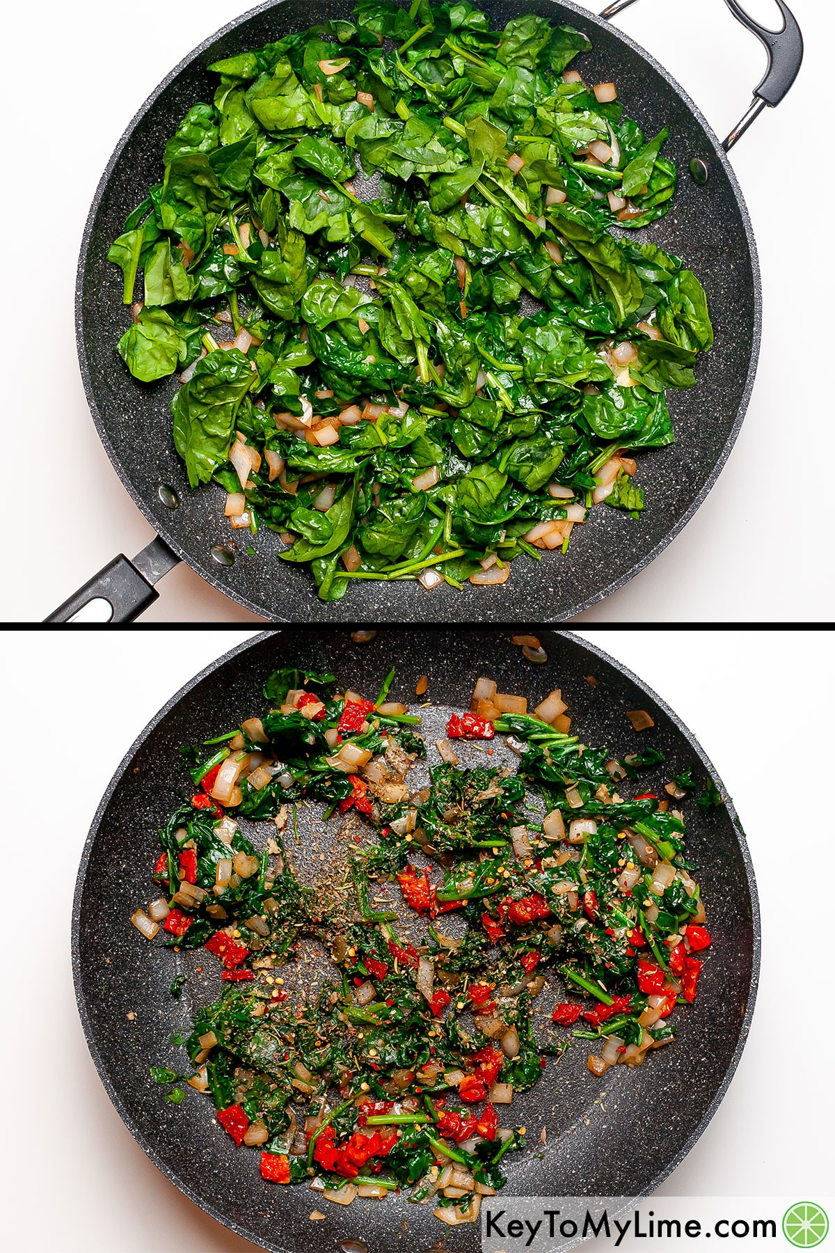 A process collage showing the spinach before and after it wilts.