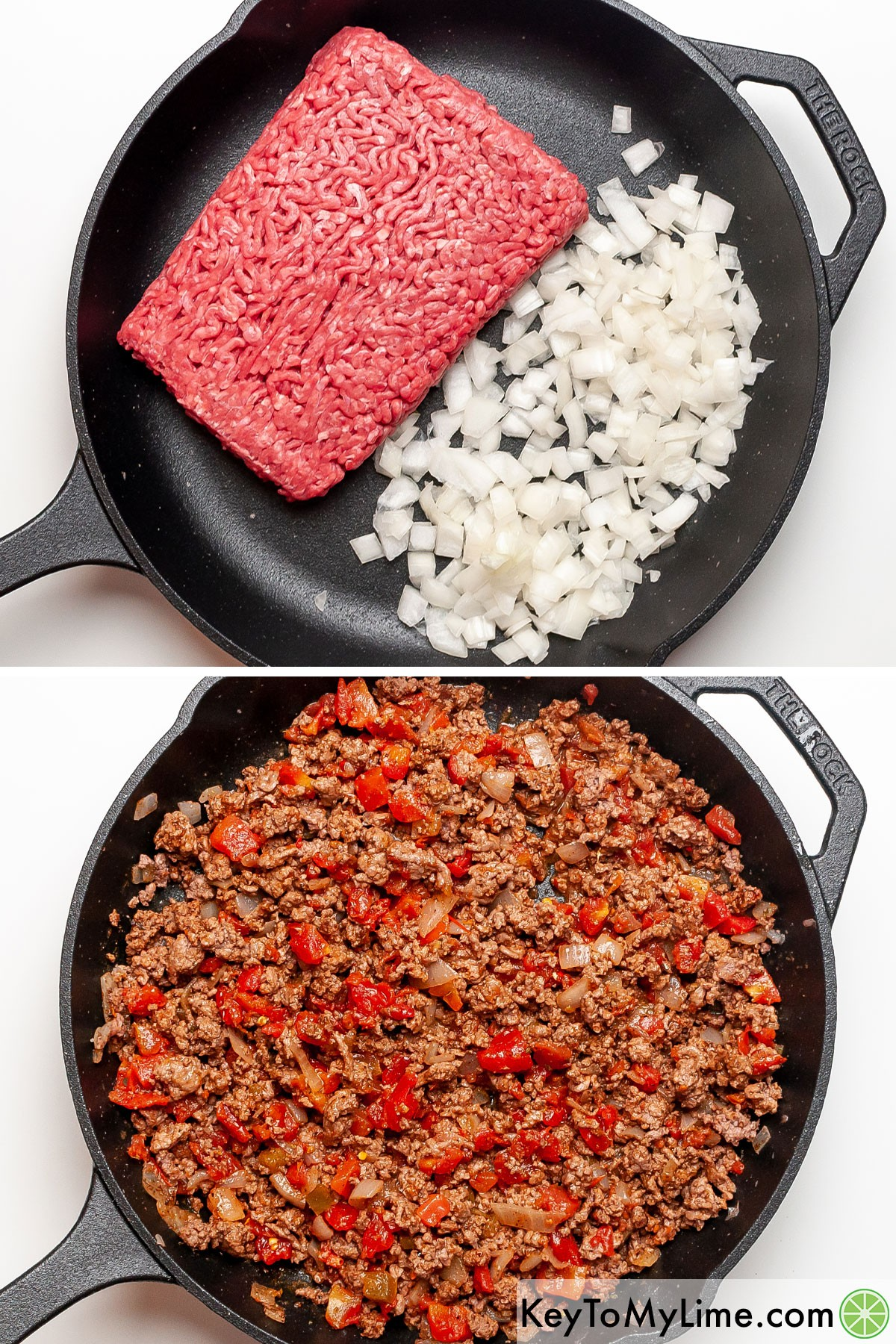 A process collage showing sauteing ground beef taco meat with chopped onion.
