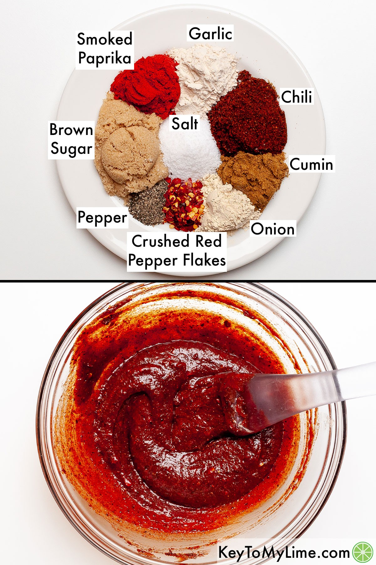 A process collage showing the labeled spices for western style ribs, and then the spices mixed with BBQ sauce.