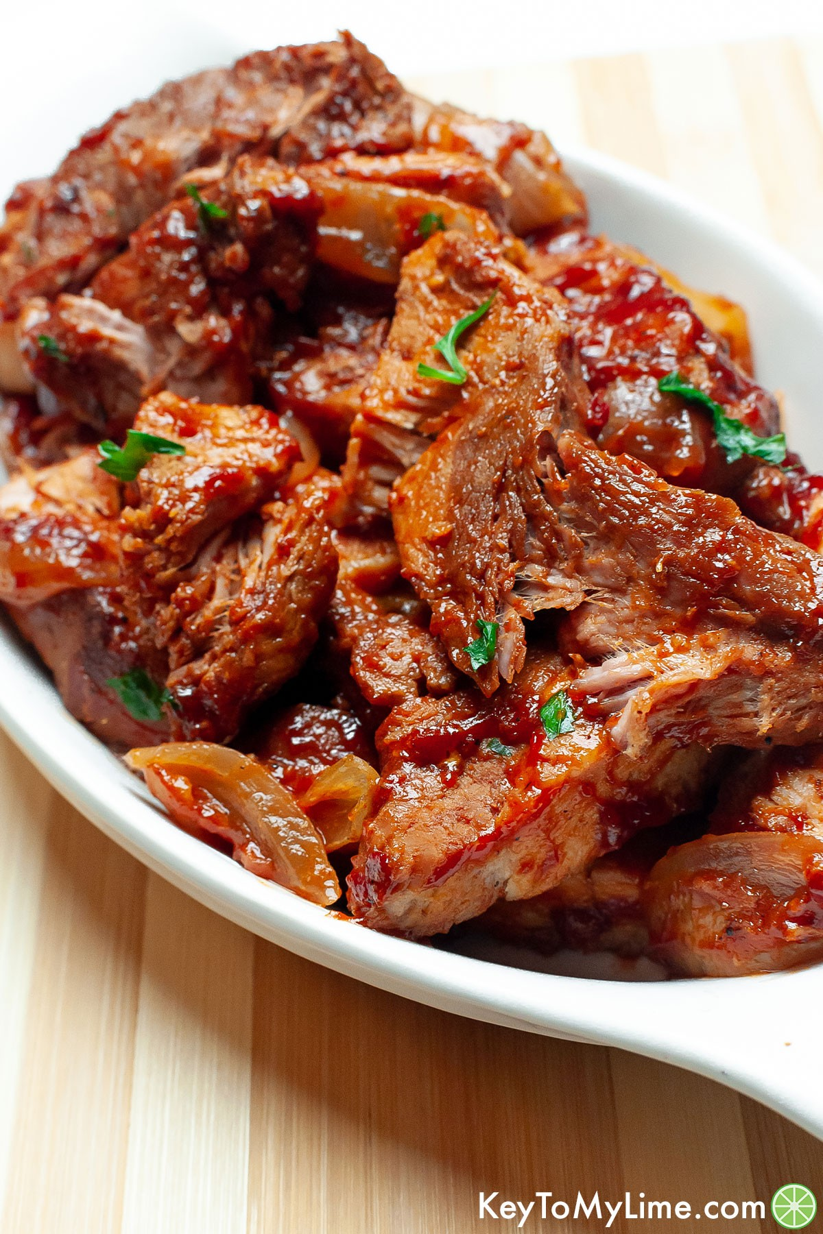 A plate filled with country style ribs.