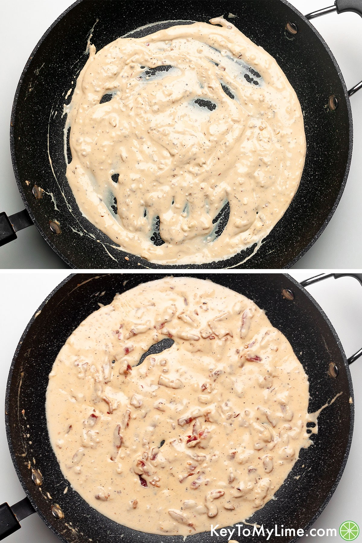 A process collage showing how to make cream cheese pasta sauce with bacon.
