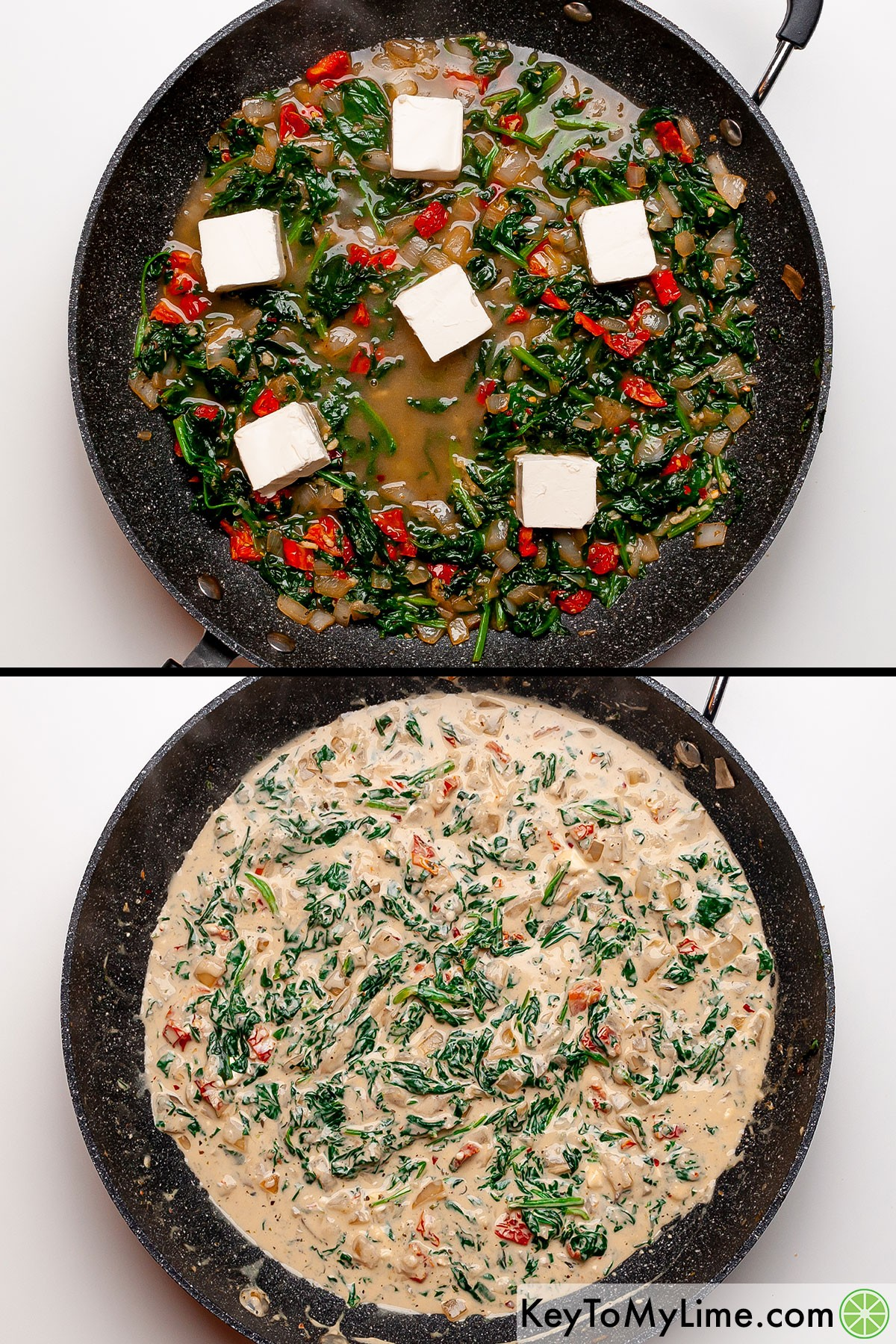 A process collage showing the creamy Tuscan pasta sauce before and after the cream cheese melts.