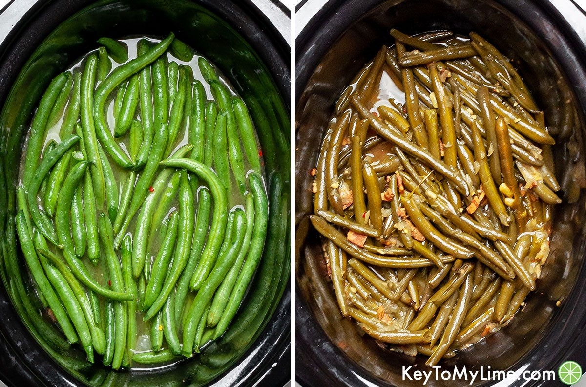 Fresh green beans before and after cooking in the in slow cooker.