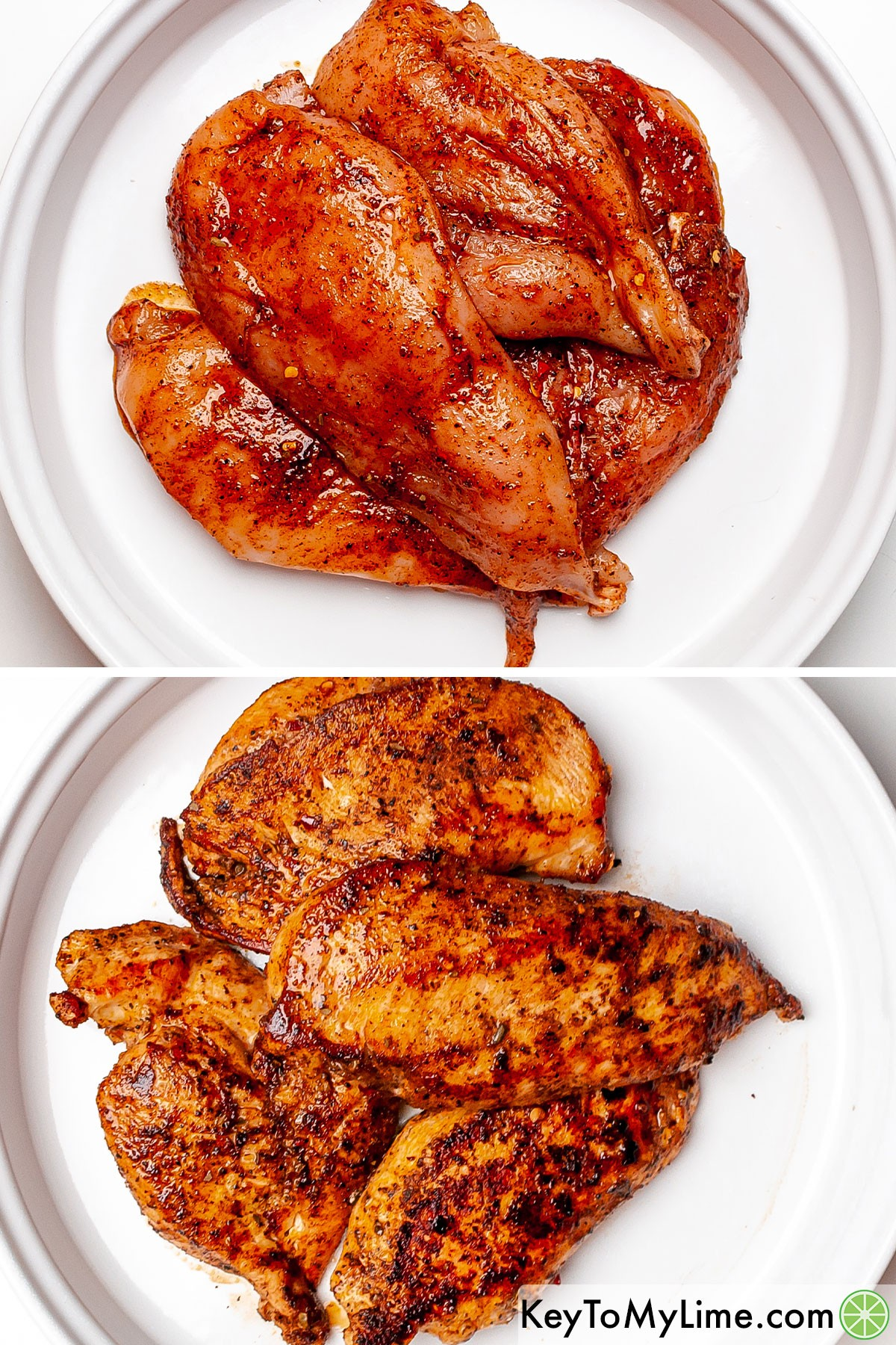 Fajita seasoning coated chicken breast fillets before and after cooking.