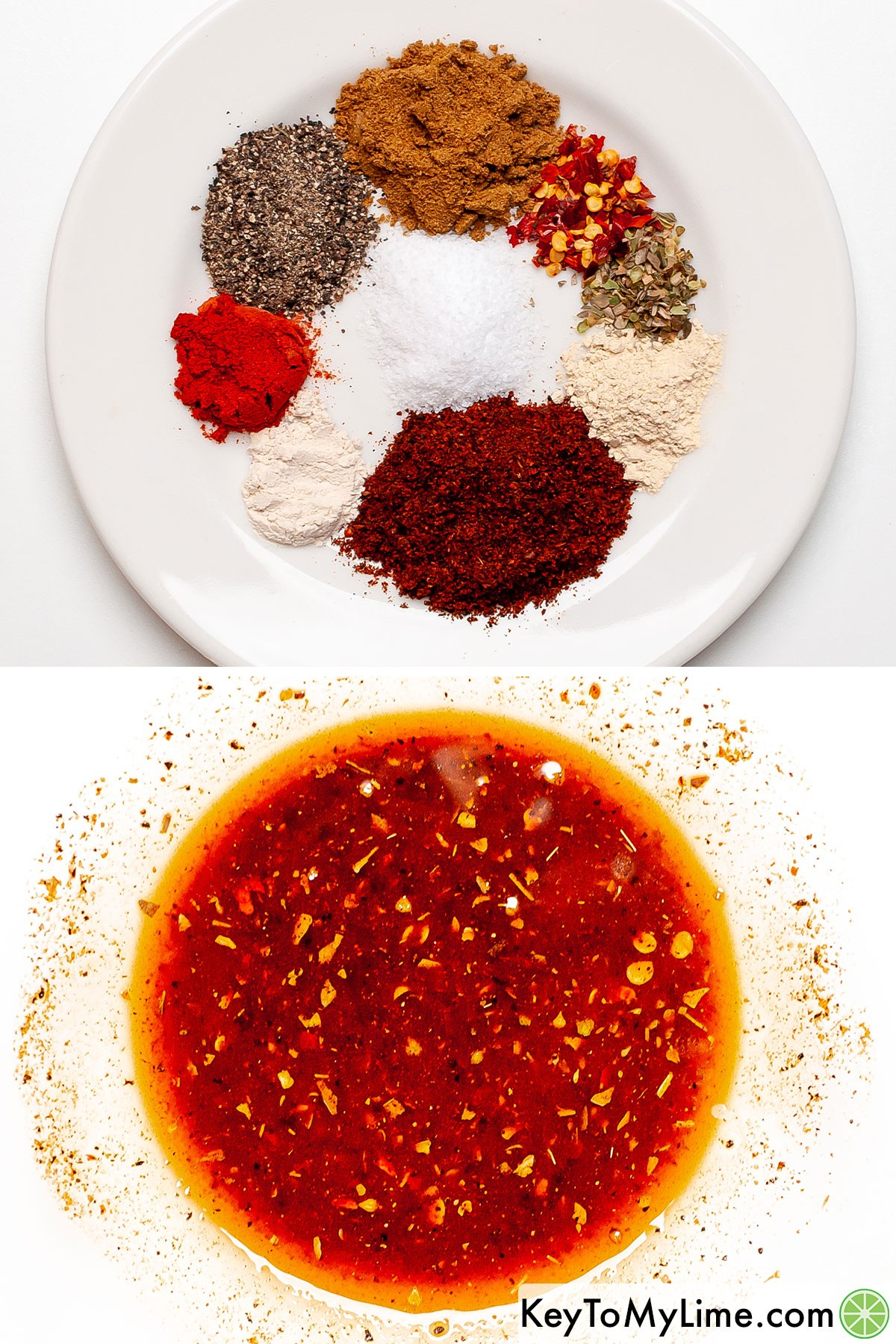 A process collage of making homemade fajita seasoning and mixing it with oil to make a chicken rub.