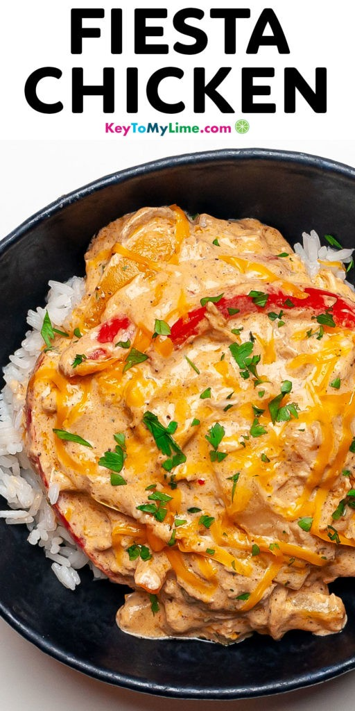 A Pinterest pin image with a picture of fiesta chicken and title text.