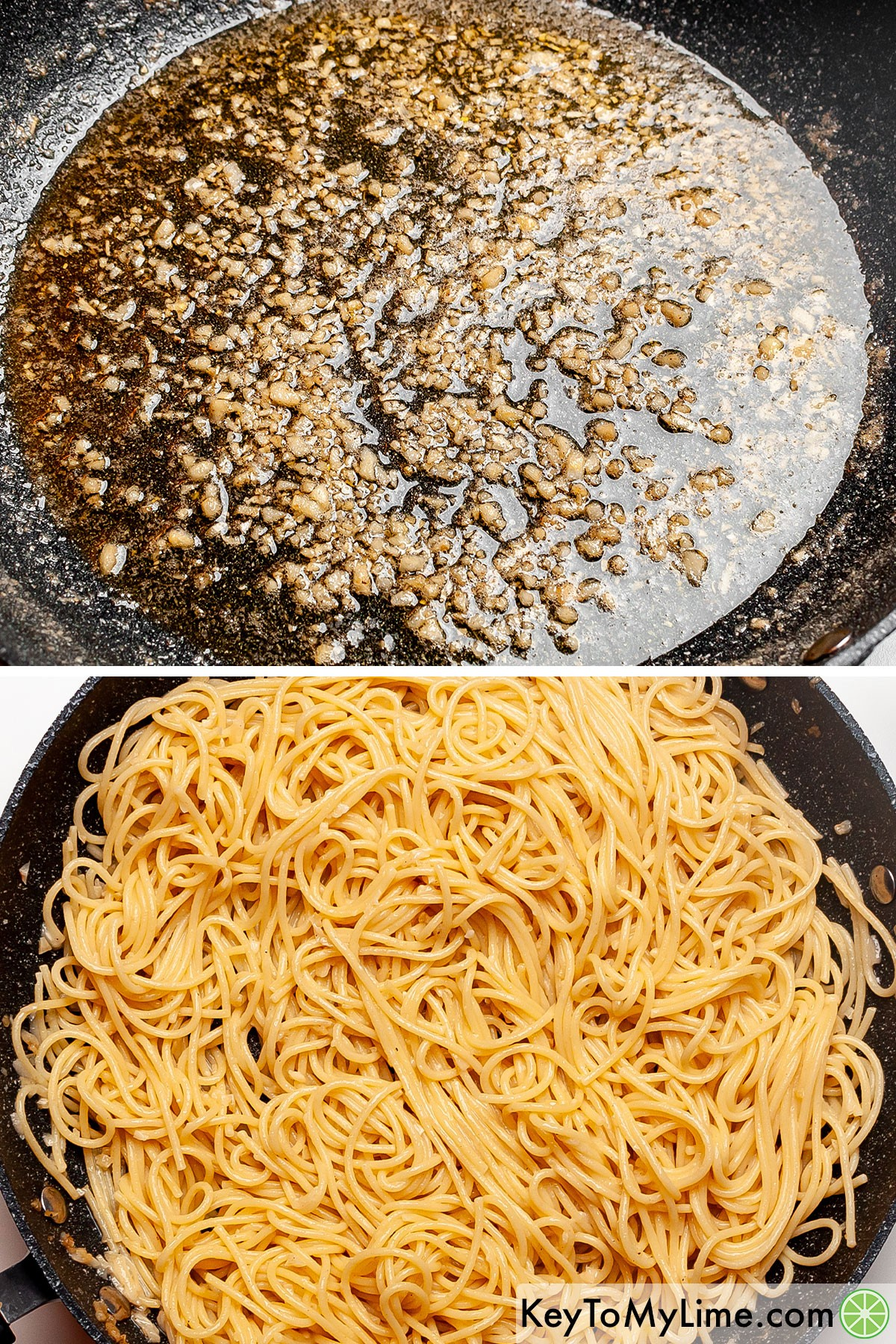 A process collage showing making garlic butter pasta sauce, and then spaghetti tossed in the sauce.