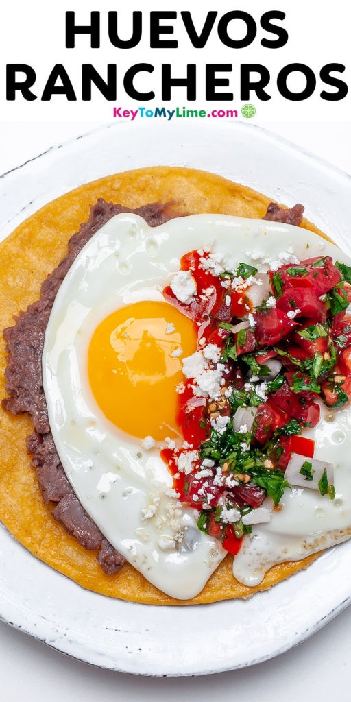 A Pinterest pin image of huevos rancheros with title text.
