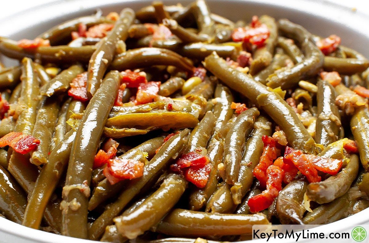 A large bowl of slow cooker green beans.