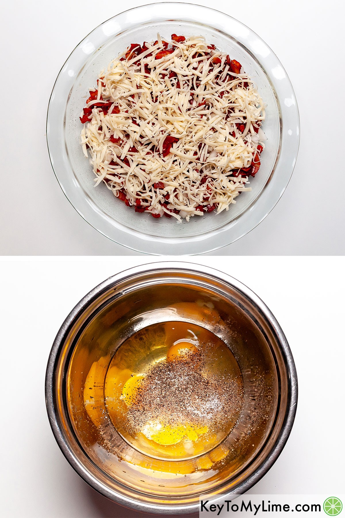 A process collage showing layering bacon and cheese in a pie dish, then mixing eggs with seasonings.