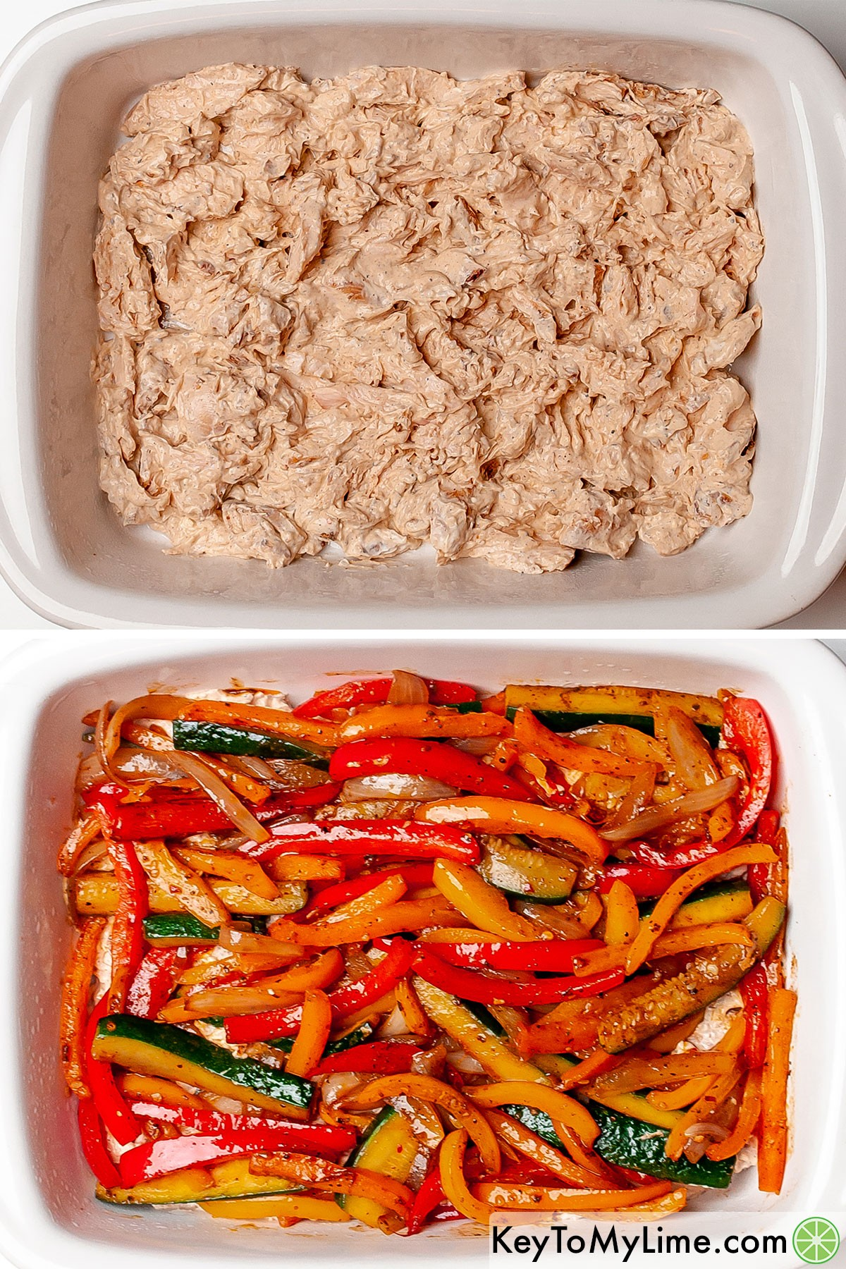 Layering the creamy chicken and sliced vegetables in a baking dish.