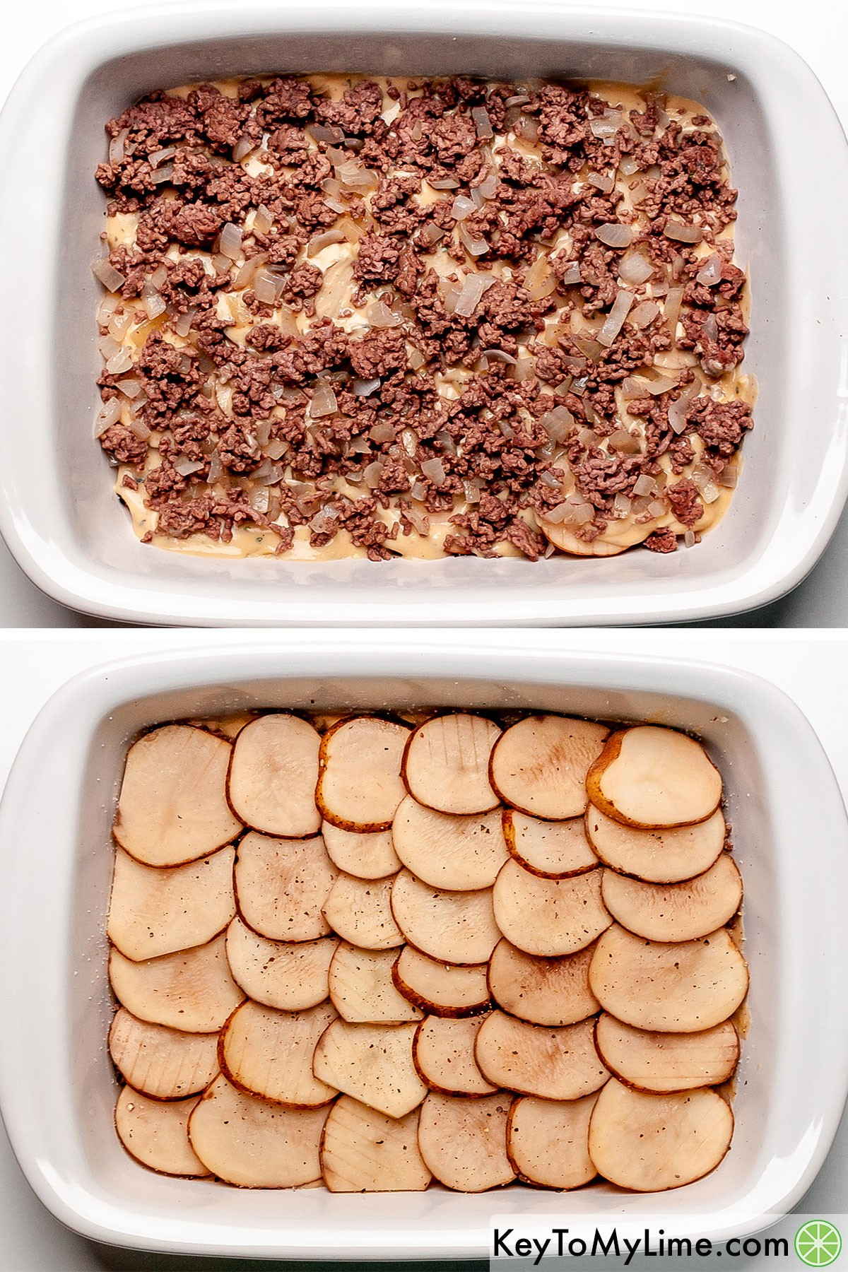A process collage showing layering cooked ground beef with potato slices.