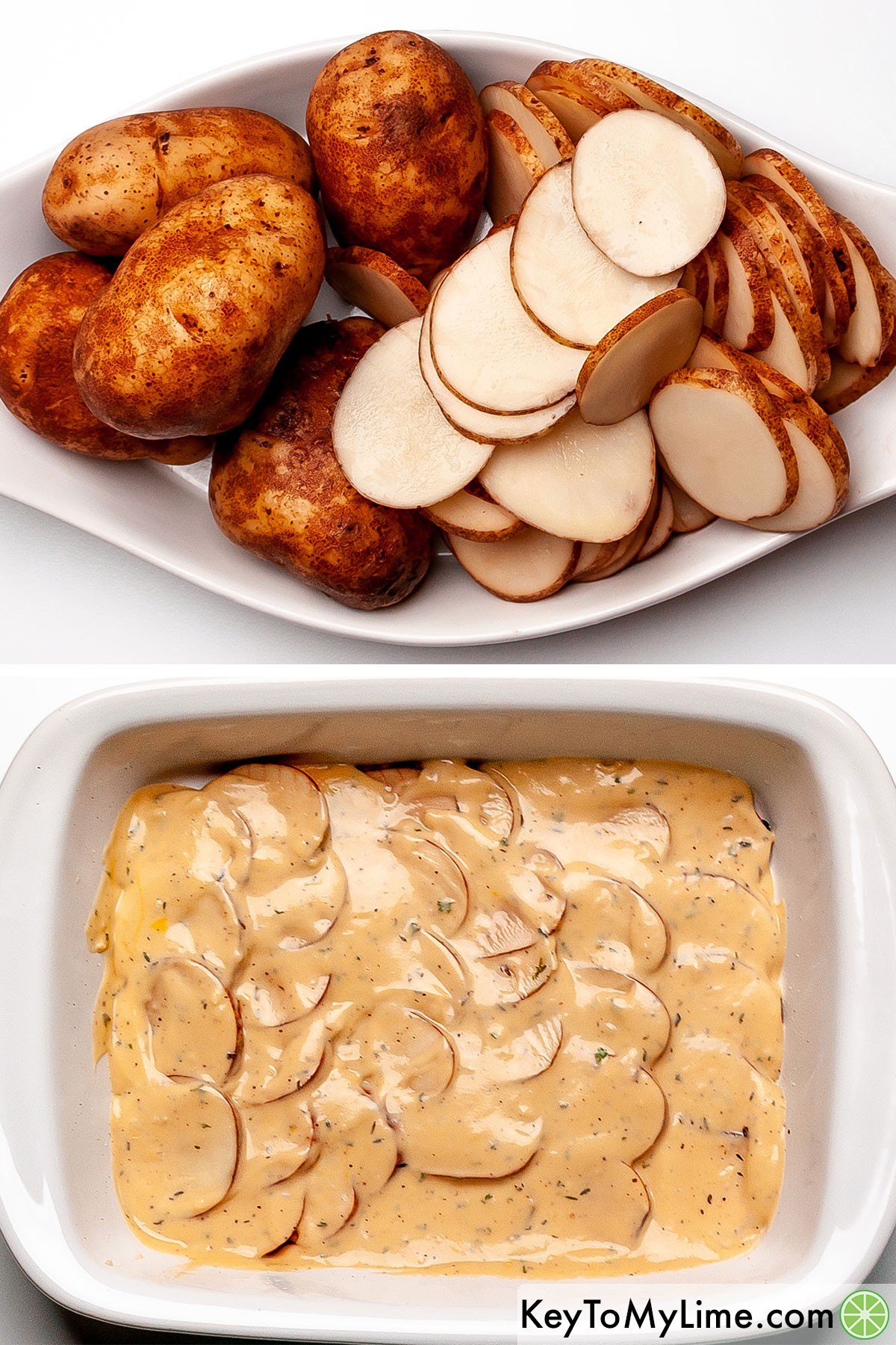 A process collage showing slicing russet potatoes and than layering them in a casserole dish with cheesy sauce.