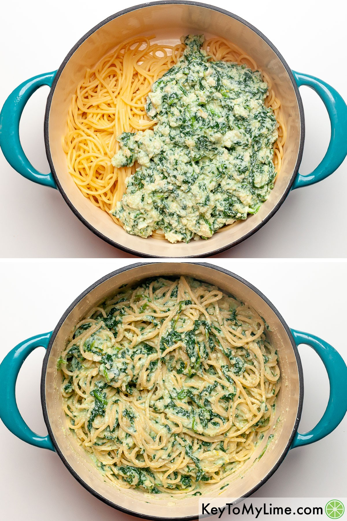 A process collage showing lemon ricotta pasta before and after the sauce is mixed into the cooked pasta.