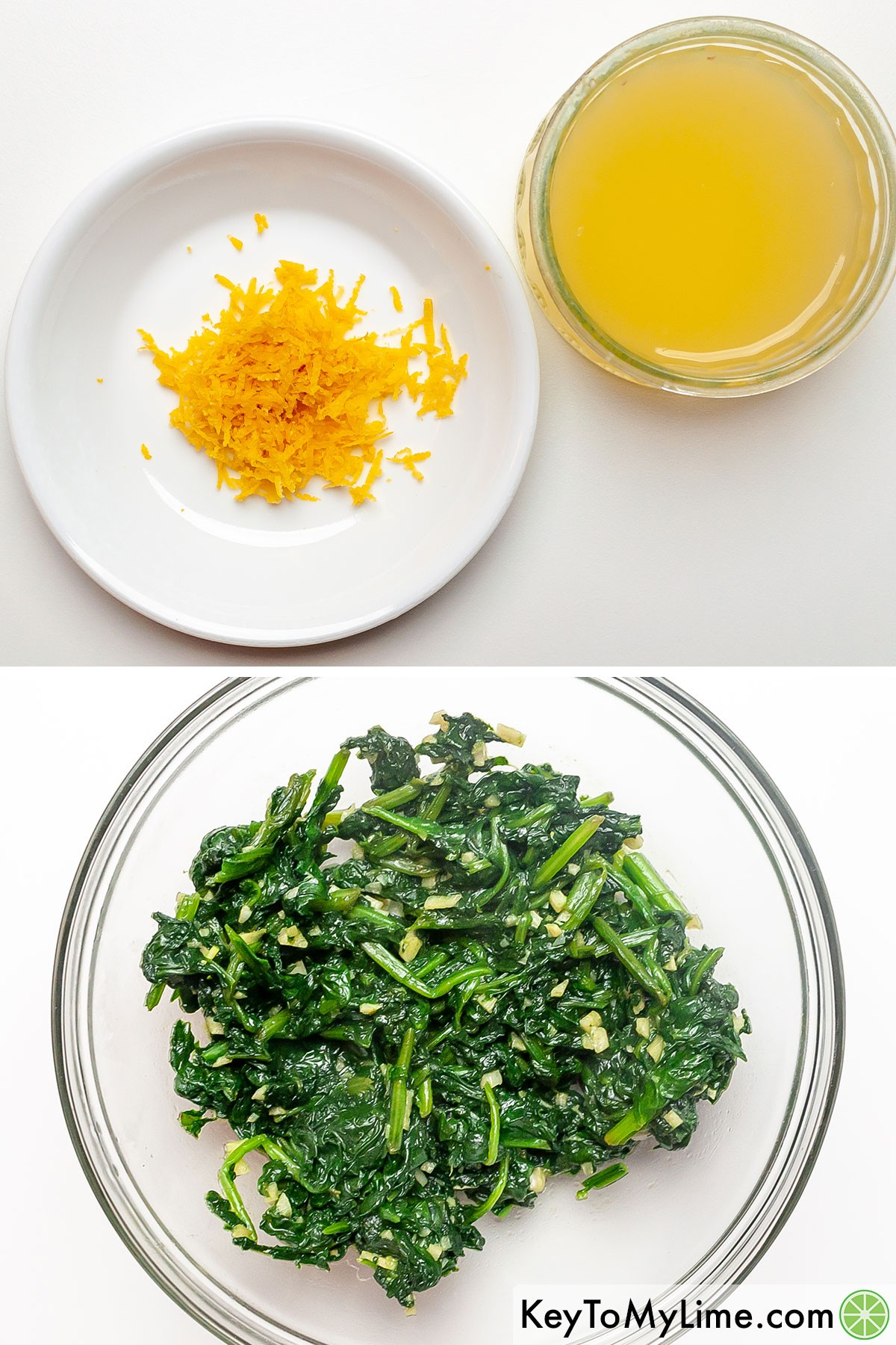 Lemon zest, lemon juice, and sauteed garlic with spinach before adding it to the simple ricotta pasta sauce.