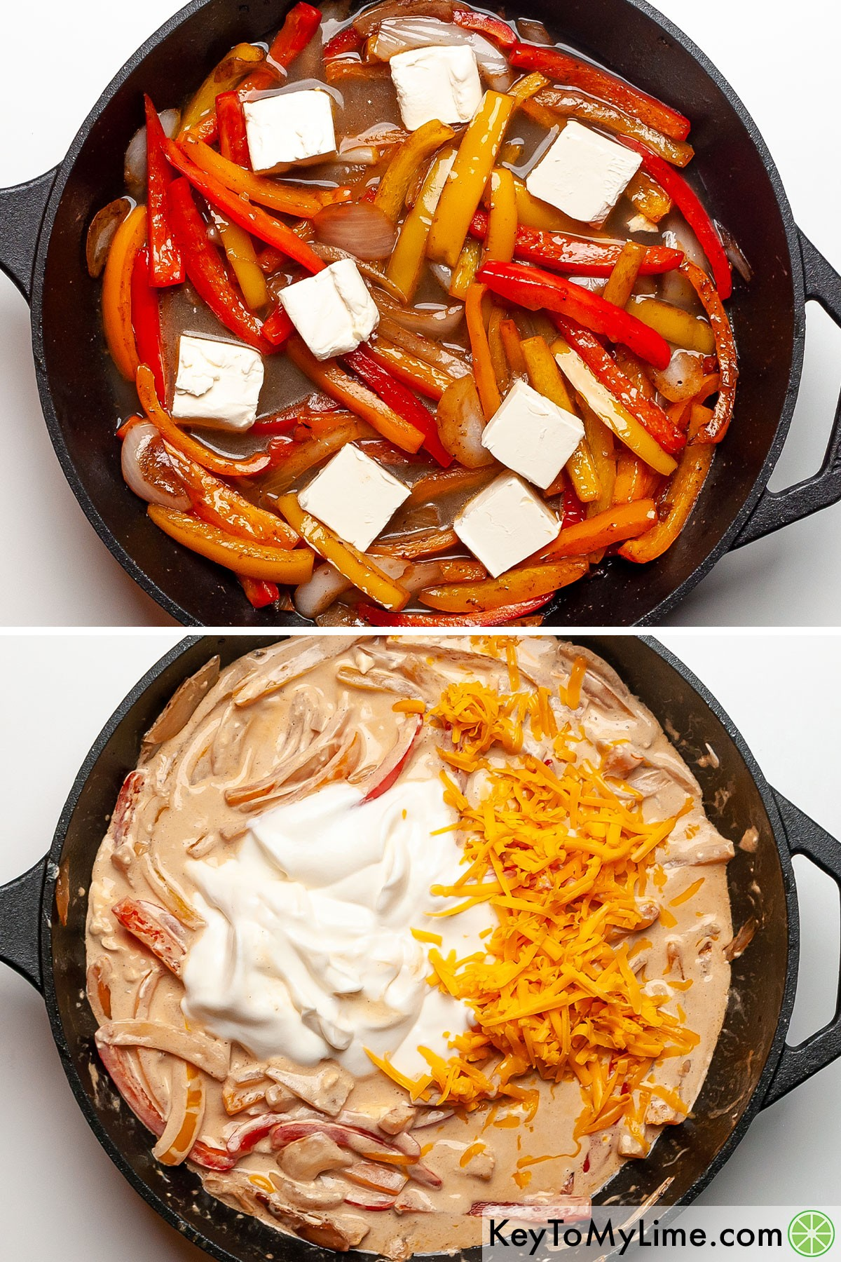 A process collage of making fiesta chicken sauce creamy.