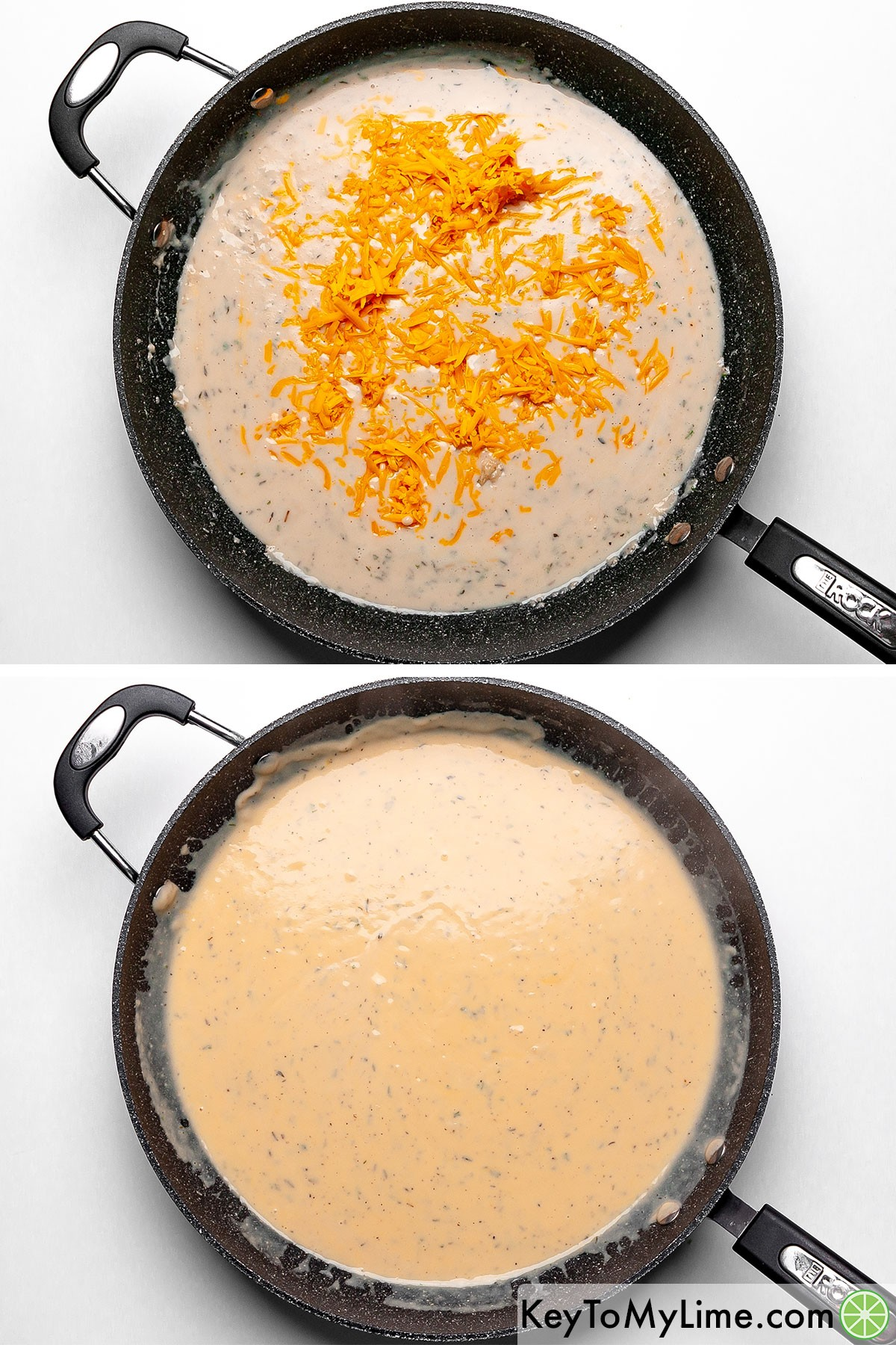 A process collage showing cheese being mixed into a thick creamy sauce.