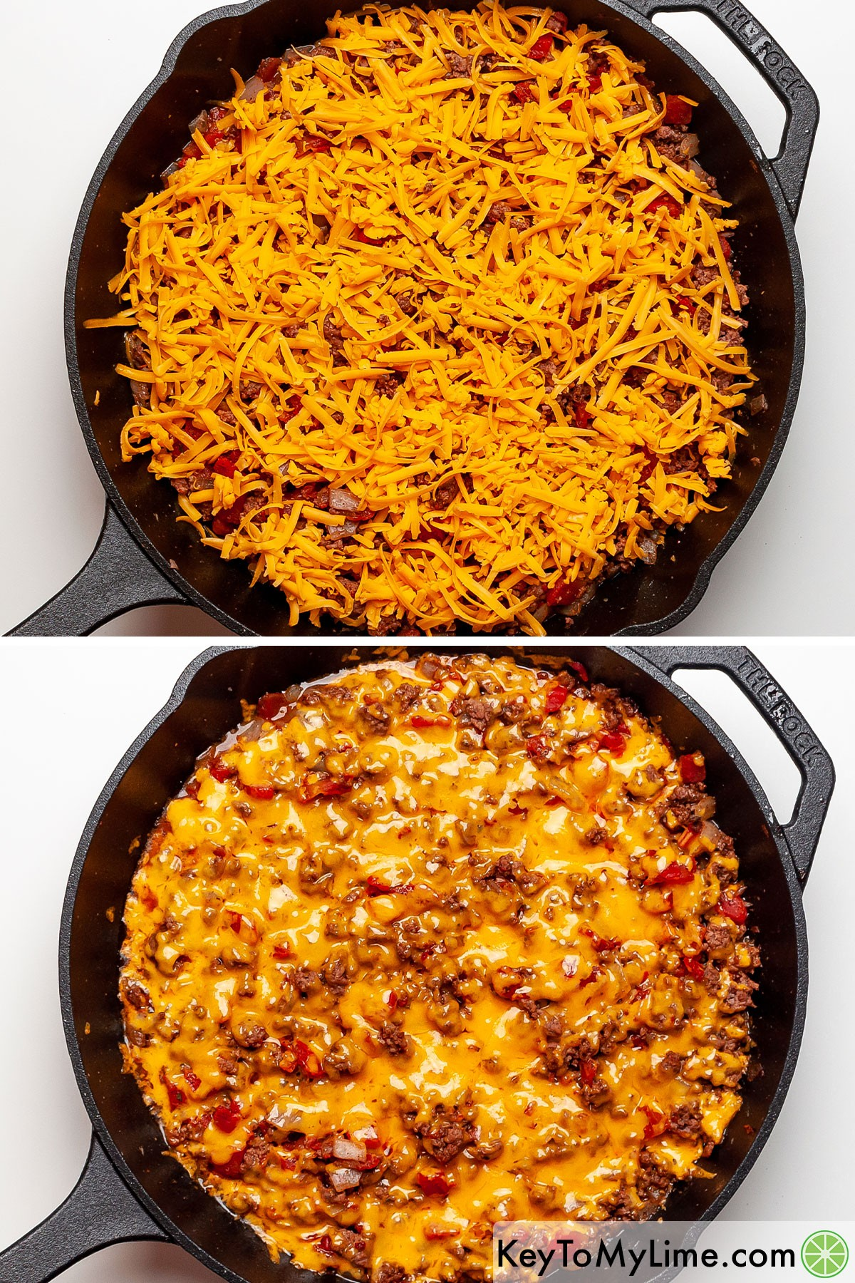A process collage showing melting cheese on ground beef taco meat.