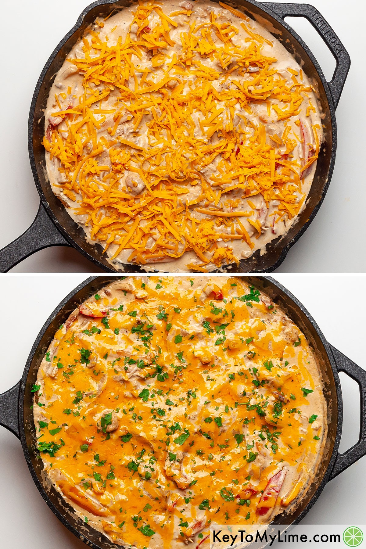 A process collage of melting cheddar cheese on top of fiesta chicken.