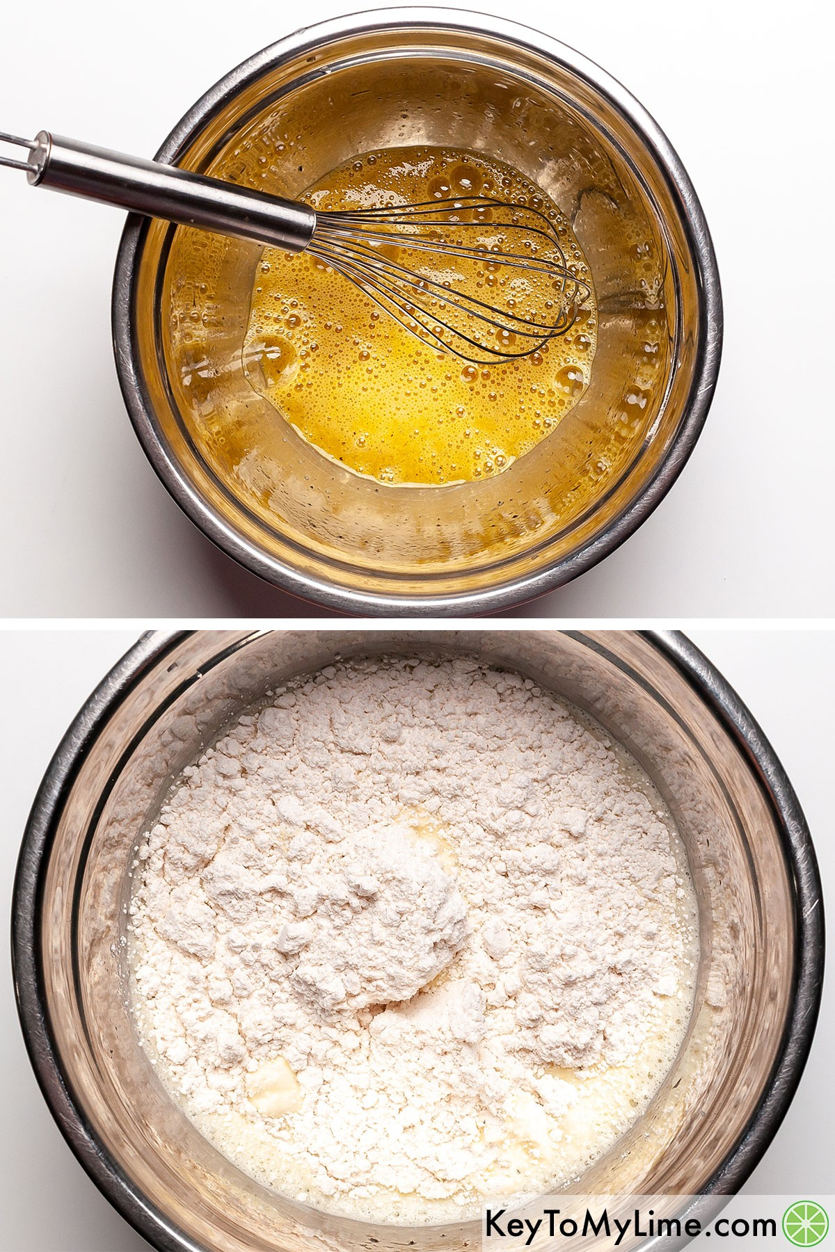 A process collage showing mixing eggs with milk and Bisquick.