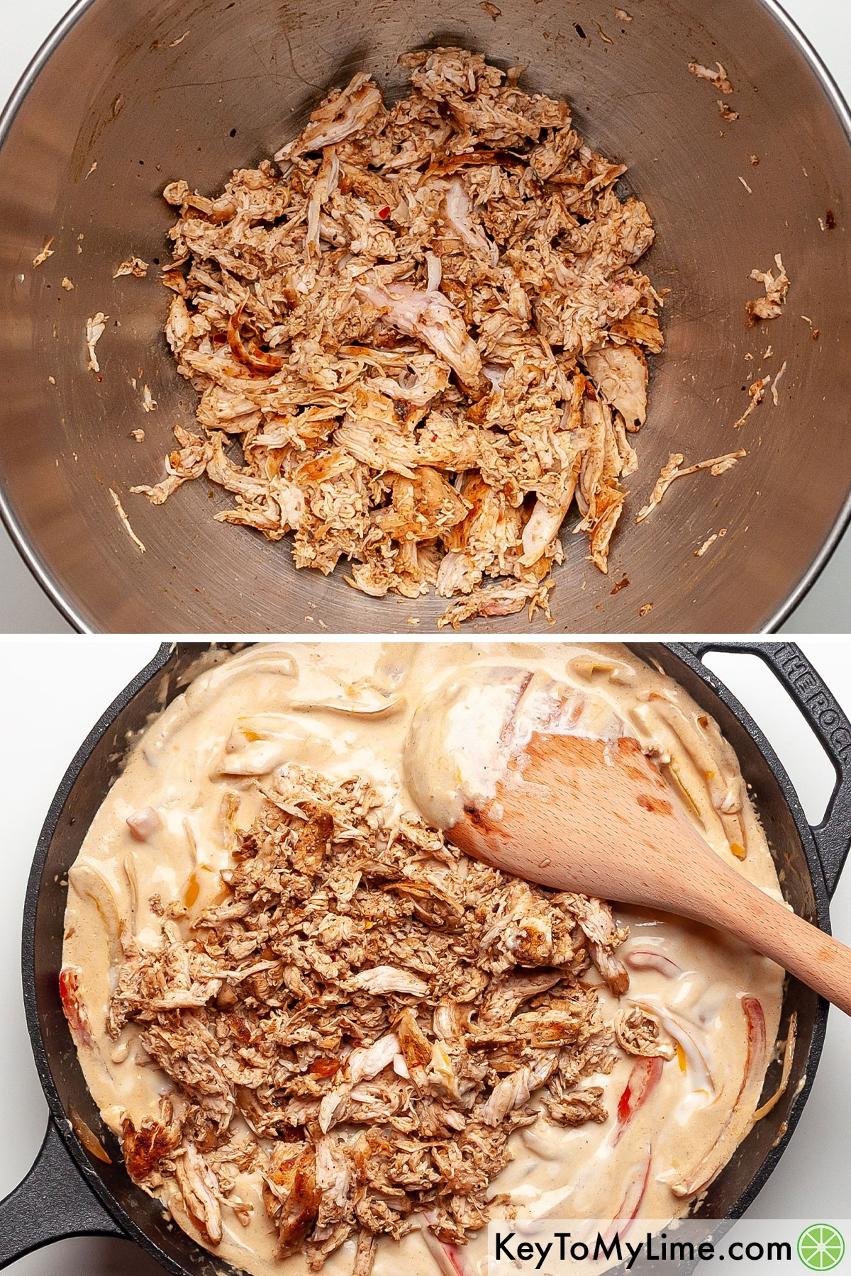 A process collage of shredding chicken and then adding it to the fiesta chicken sauce.