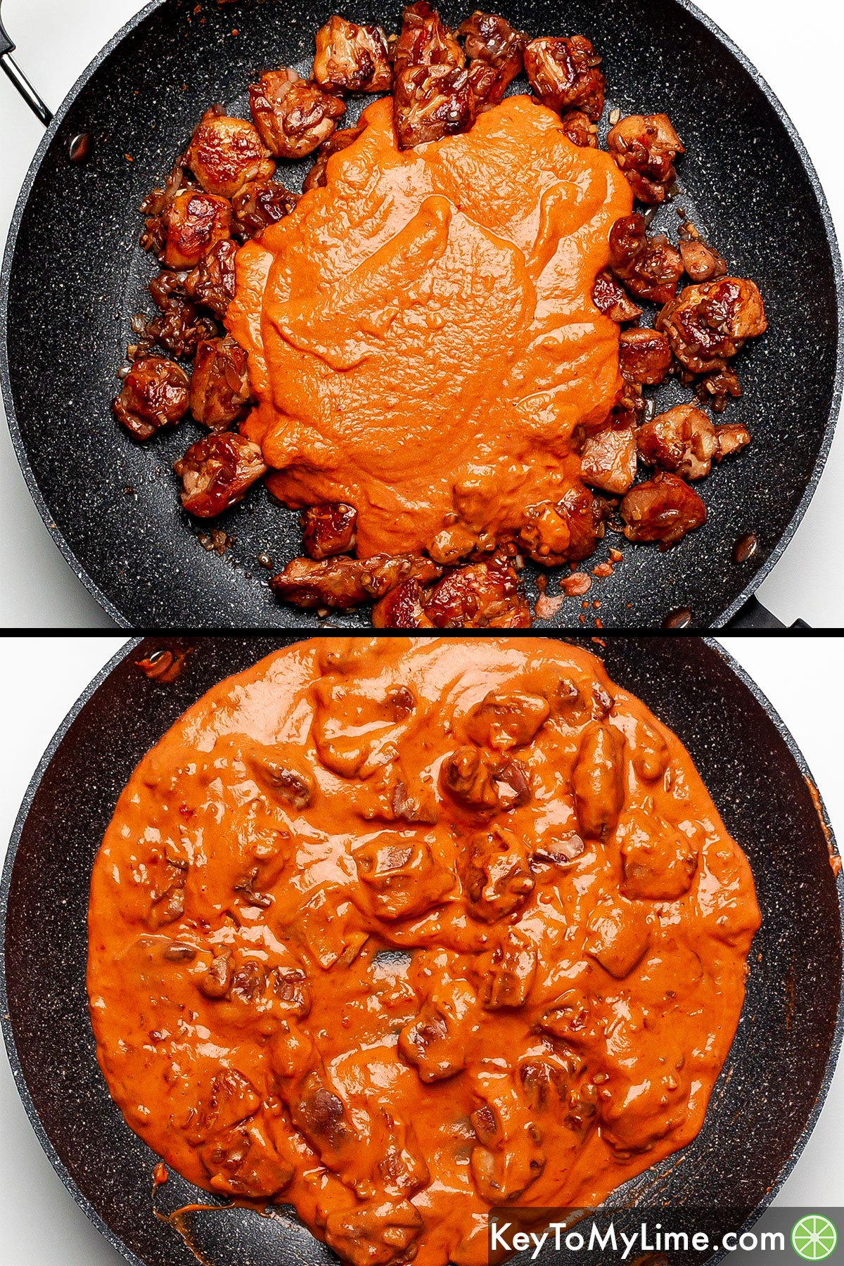 A process collage showing mixing peanut butter sauce with cooked chicken pieces.